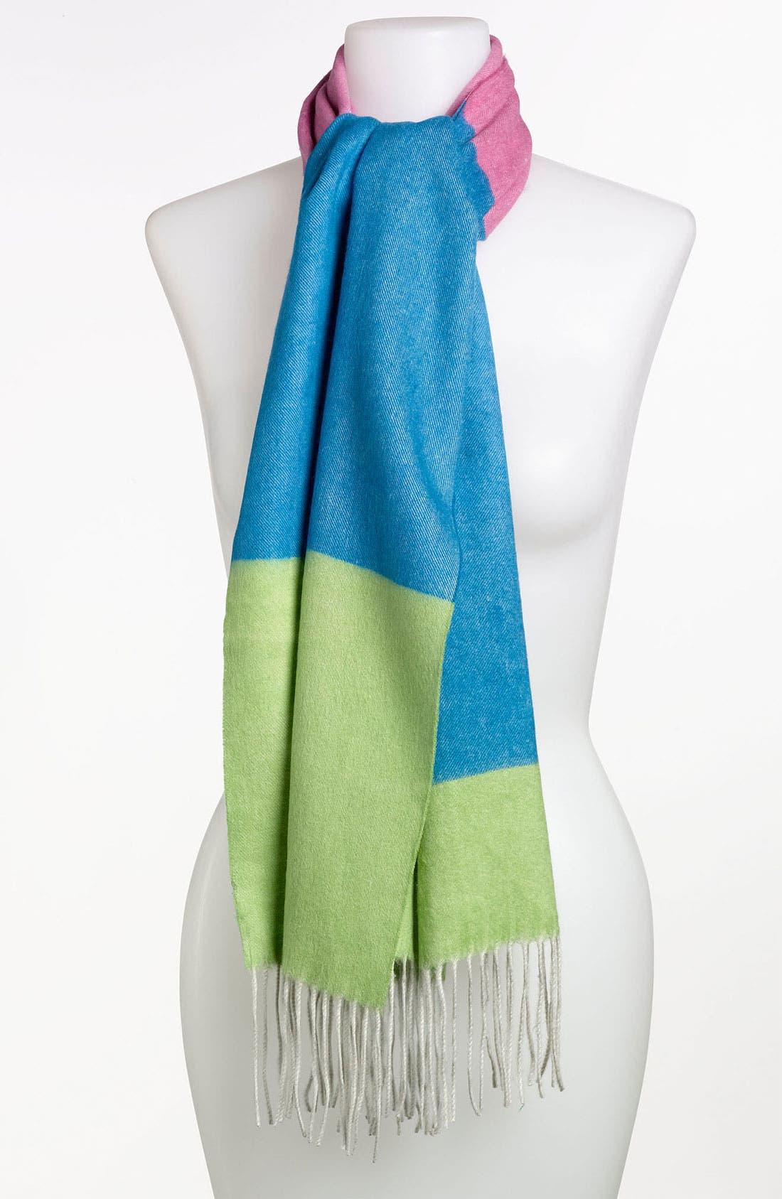 Colorblock Silk Muffler,                         Main,                         color, 300
