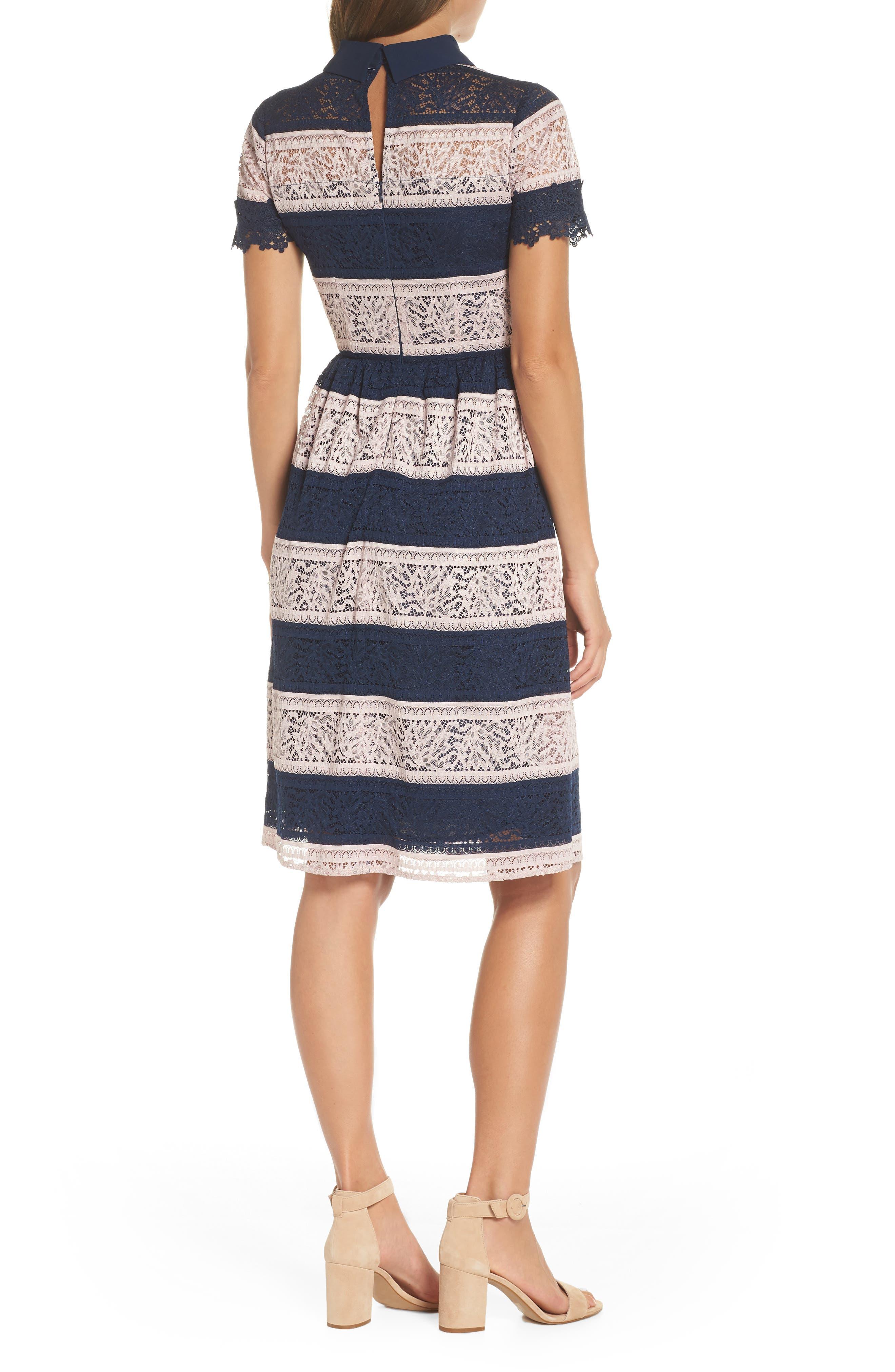 Stripe Lace Fit & Flare Dress,                             Alternate thumbnail 2, color,                             410