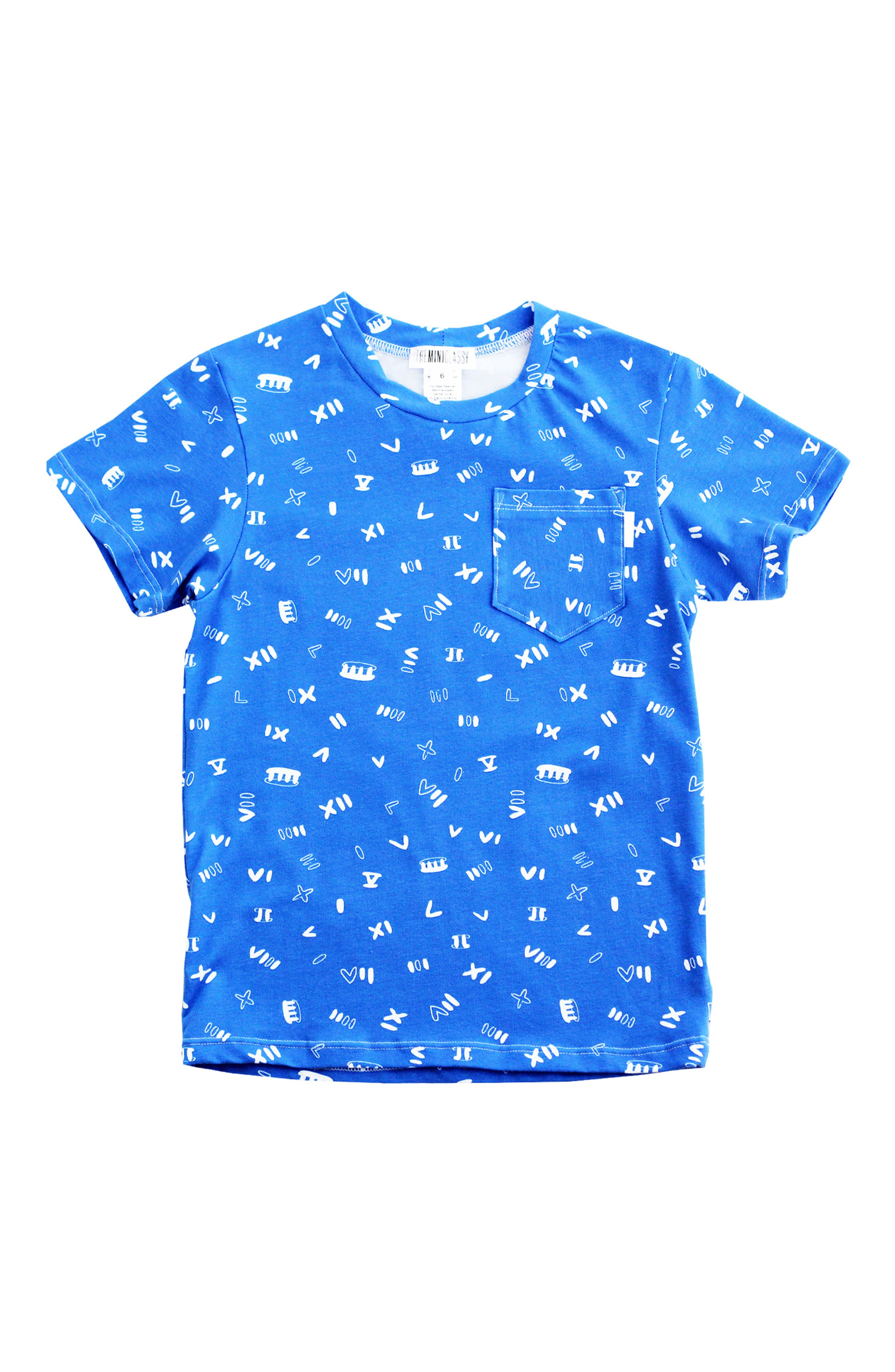 Roman Noodle T-Shirt,                             Main thumbnail 1, color,                             BLUE/ WHITE