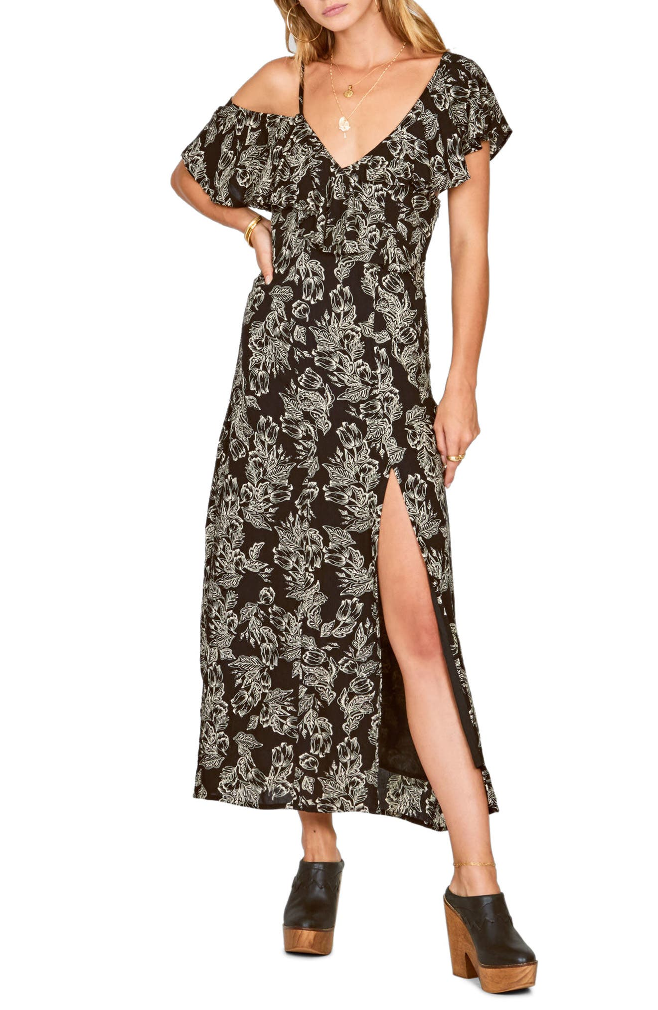 Midnight Flower Asymmetrical Maxi Dress,                         Main,                         color, 001