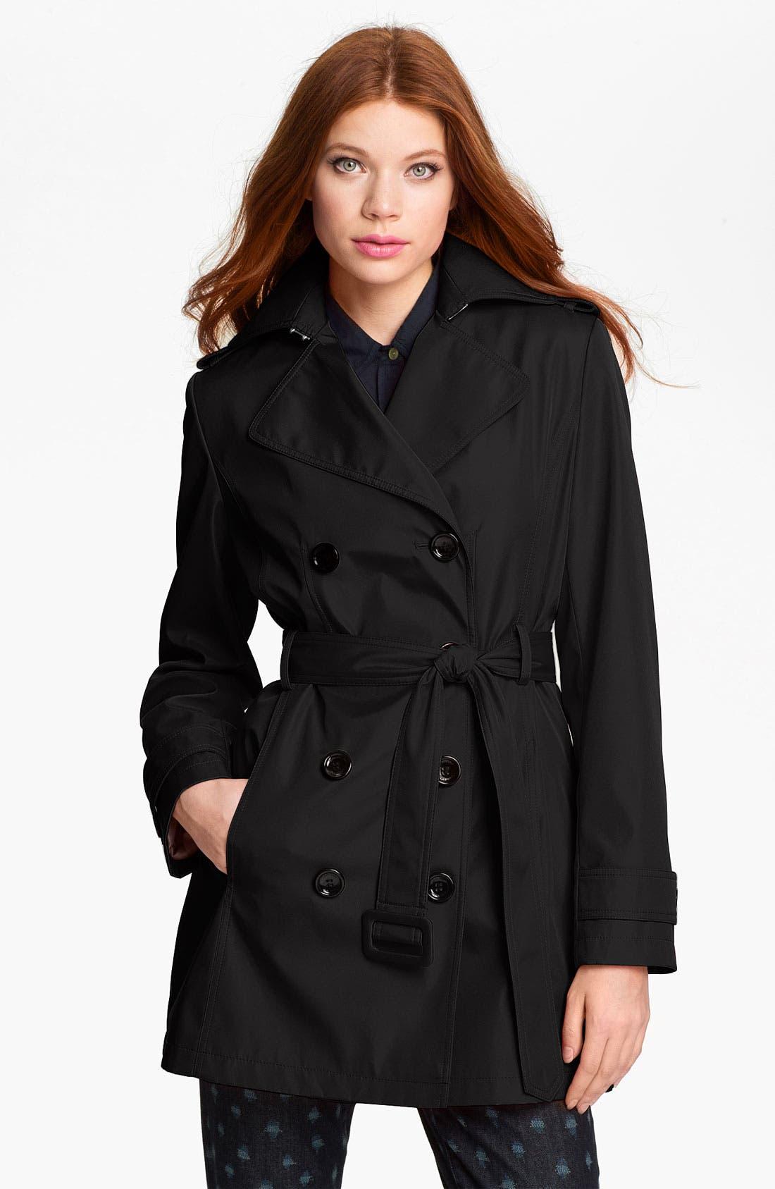 CALVIN KLEIN Skirt Back Trench Coat, Main, color, 001