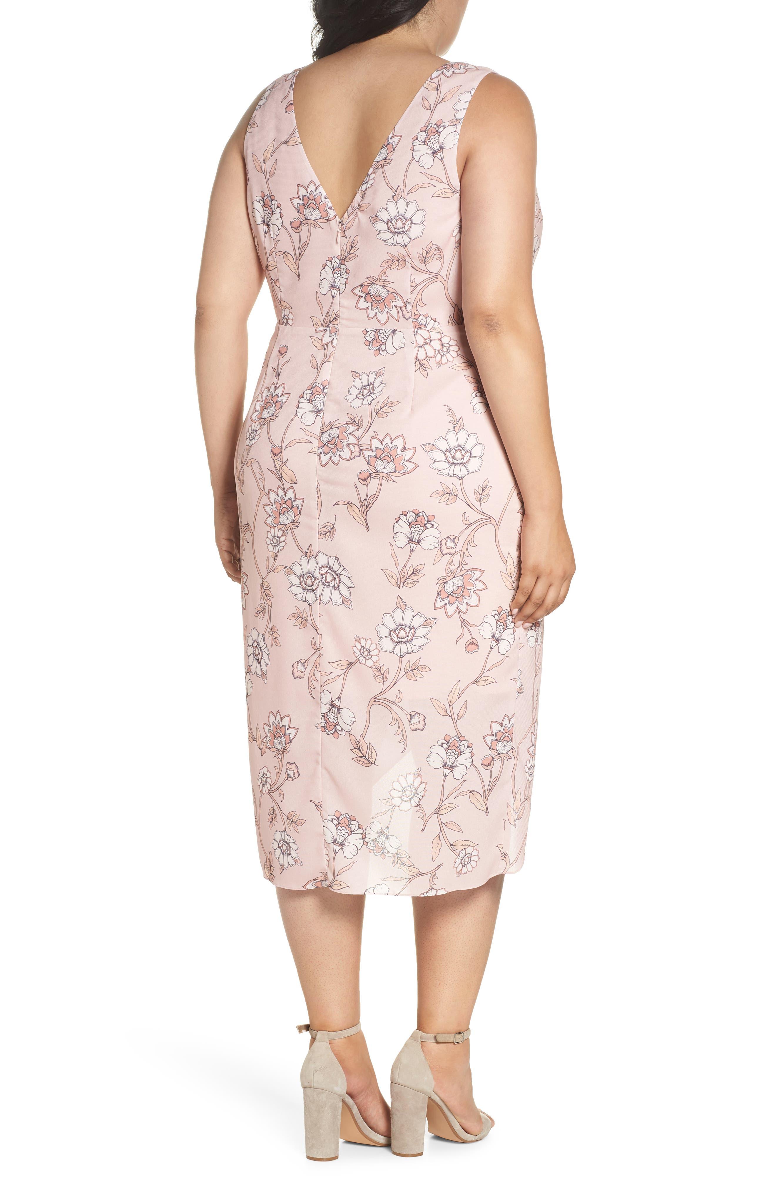 Fiorella Floral Drape Sheath Dress,                             Alternate thumbnail 2, color,                             650