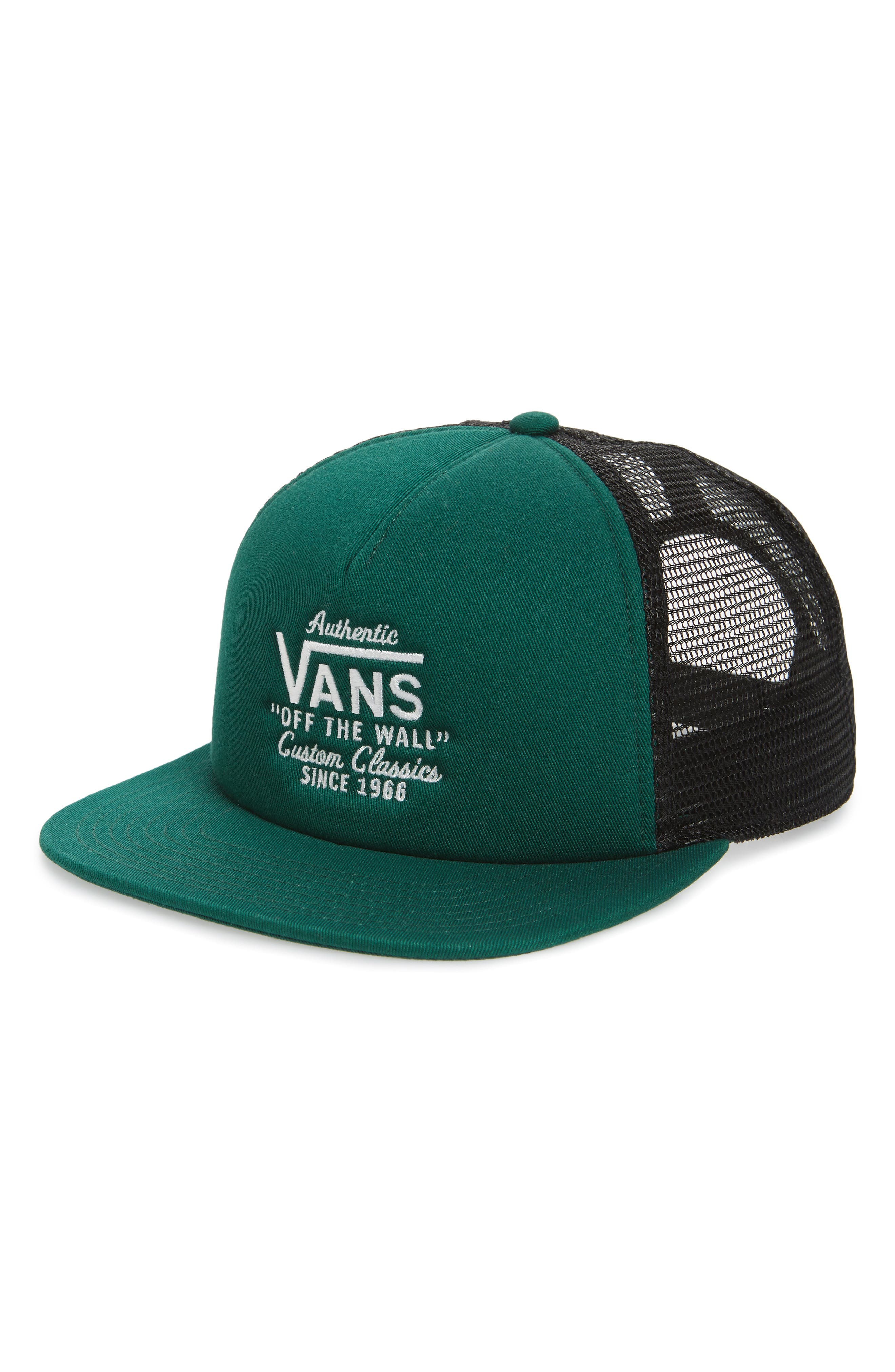 VANS,                             Galer Embroidered Trucker Hat,                             Main thumbnail 1, color,                             EVERGREEN