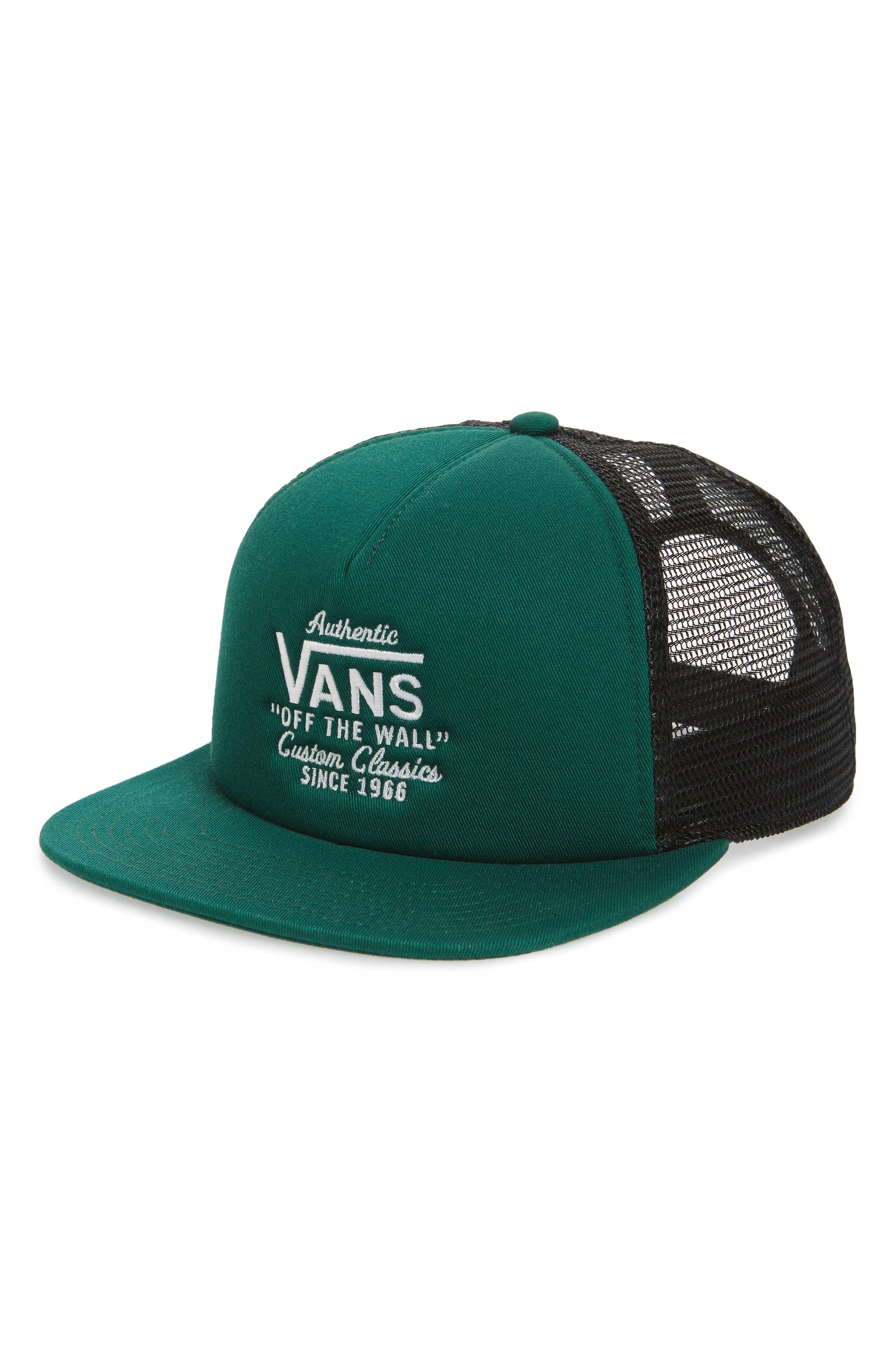 VANS Galer Embroidered Trucker Hat, Main, color, EVERGREEN