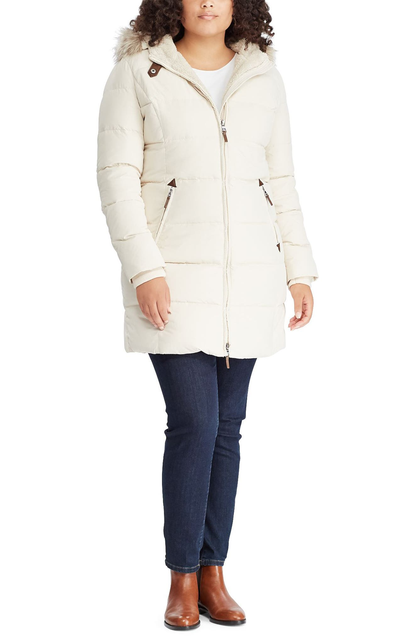 Quilted Down & Feather Fill Parka with Faux Fur Trim,                             Alternate thumbnail 3, color,                             MODA CREAM