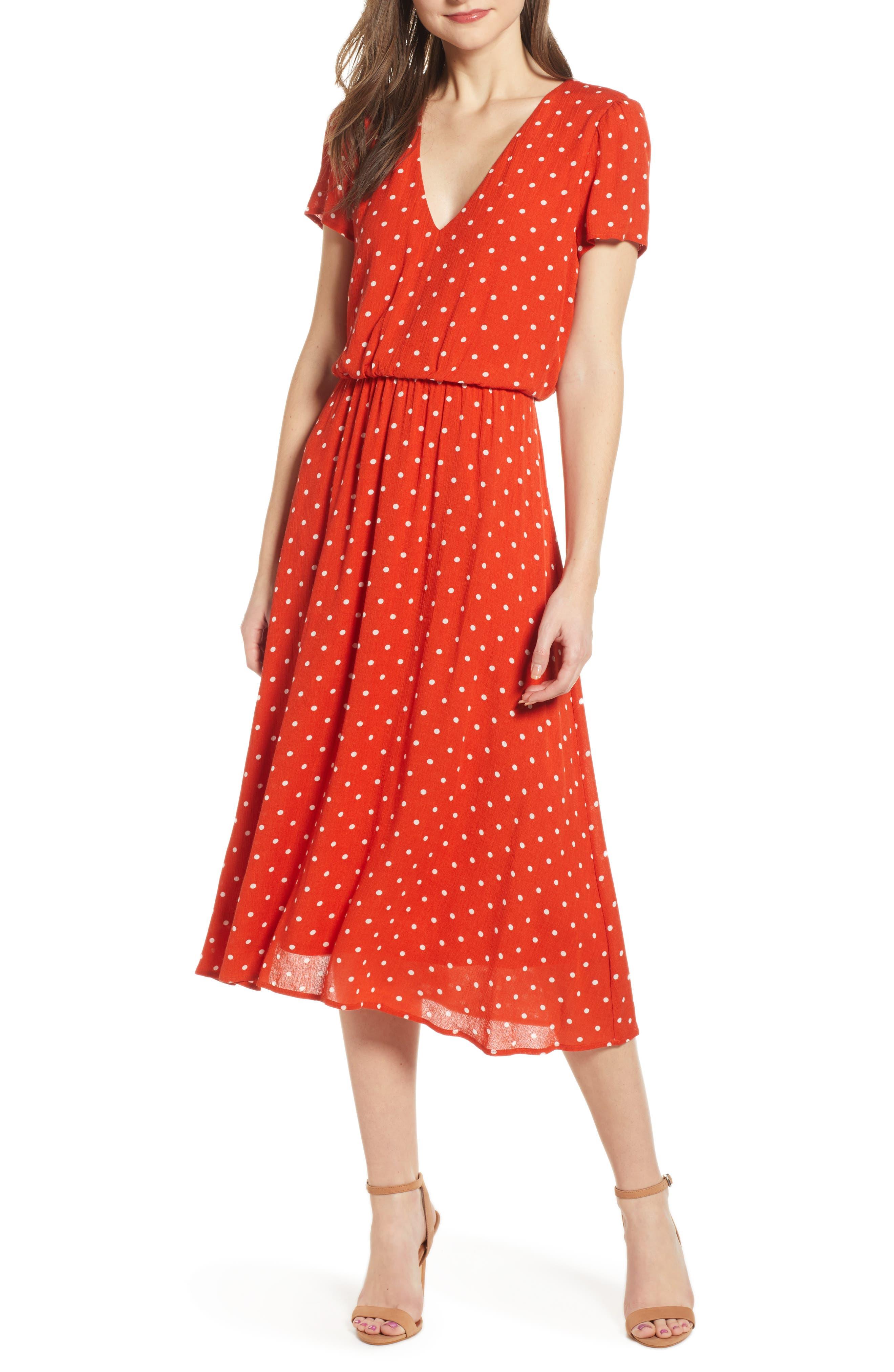 Wayf Blouson Midi Dress, Orange