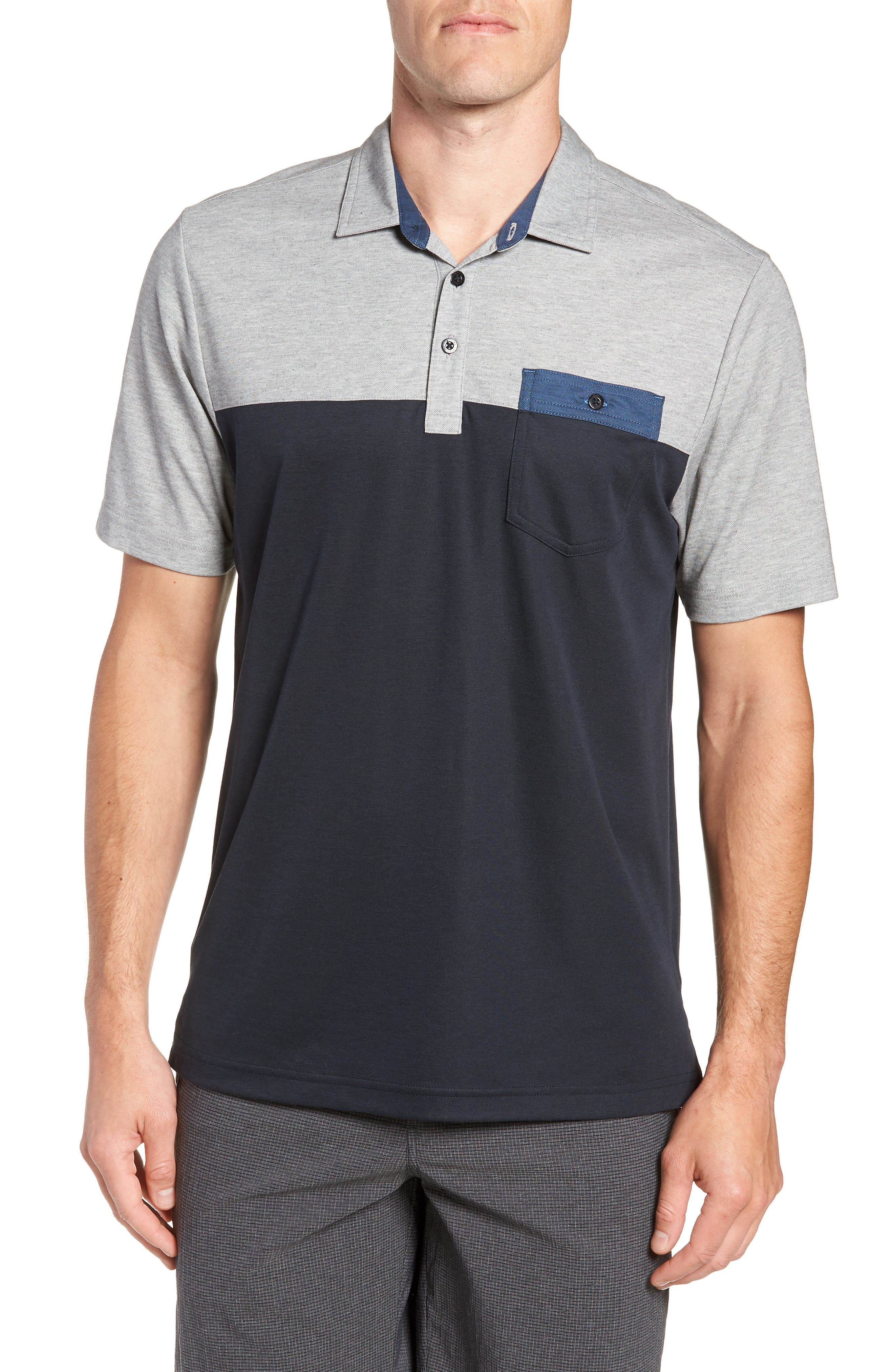Four B's Colorblocked Polo,                         Main,                         color, BLACK