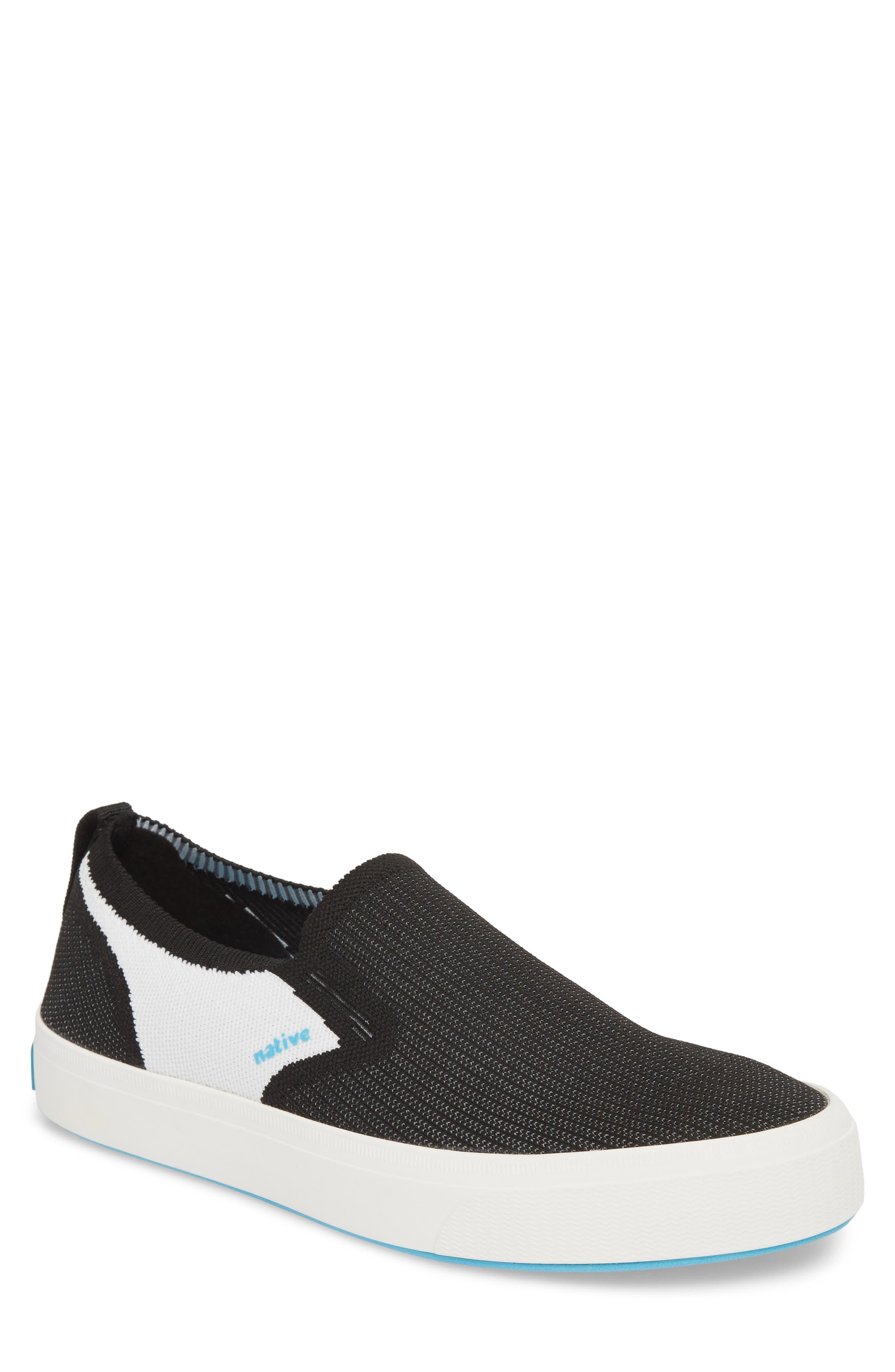 Native Miles LiteKnit Slip-On Sneaker,                         Main,                         color, JIFFY BLACK/ SHELL WHITE