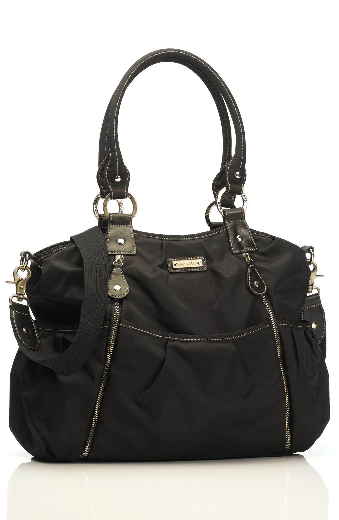 STORKSAK 'Olivia' Nylon Diaper Bag, Main, color, 001