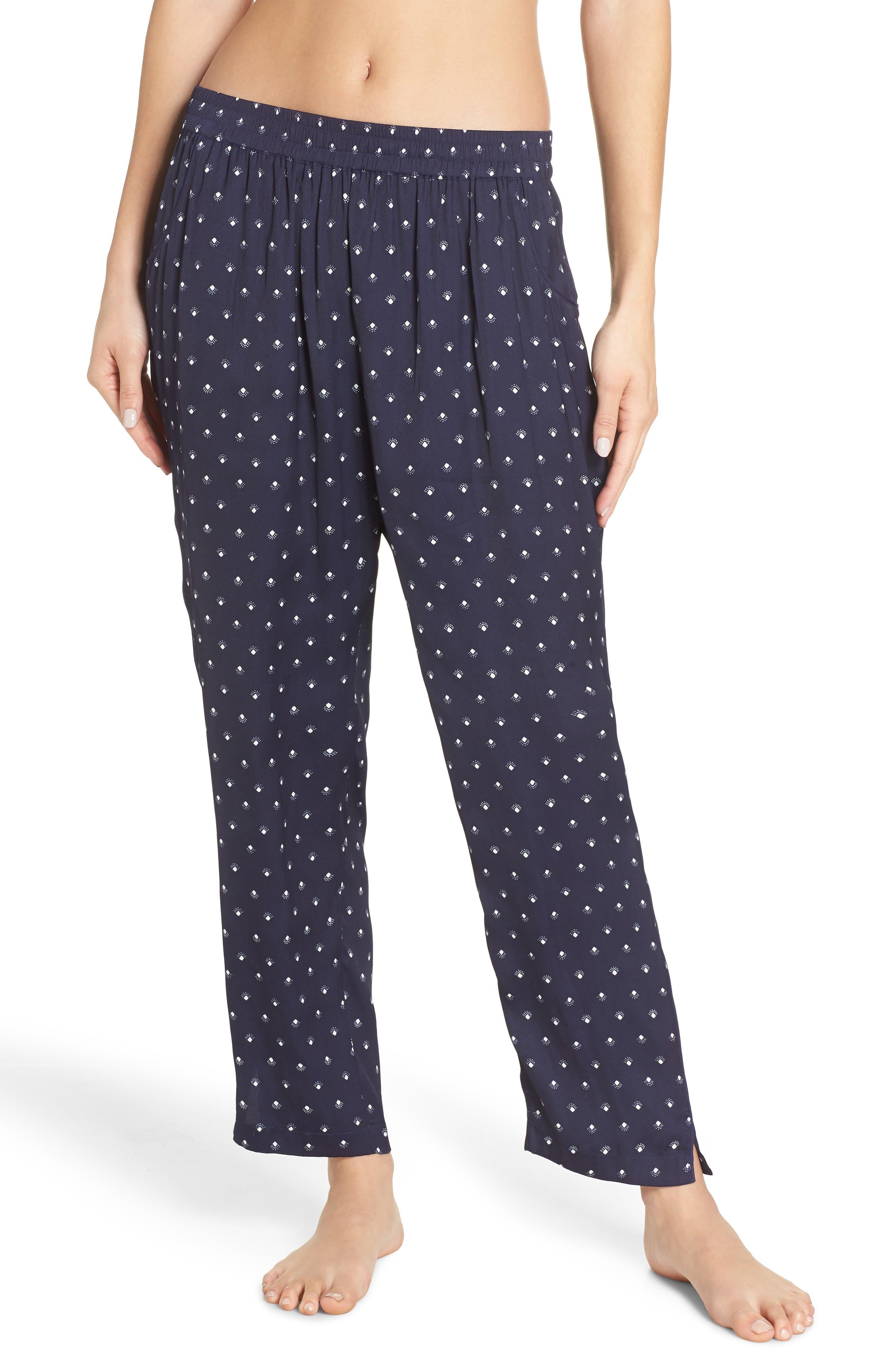 Something Navy Satin Pajama Pants, Blue