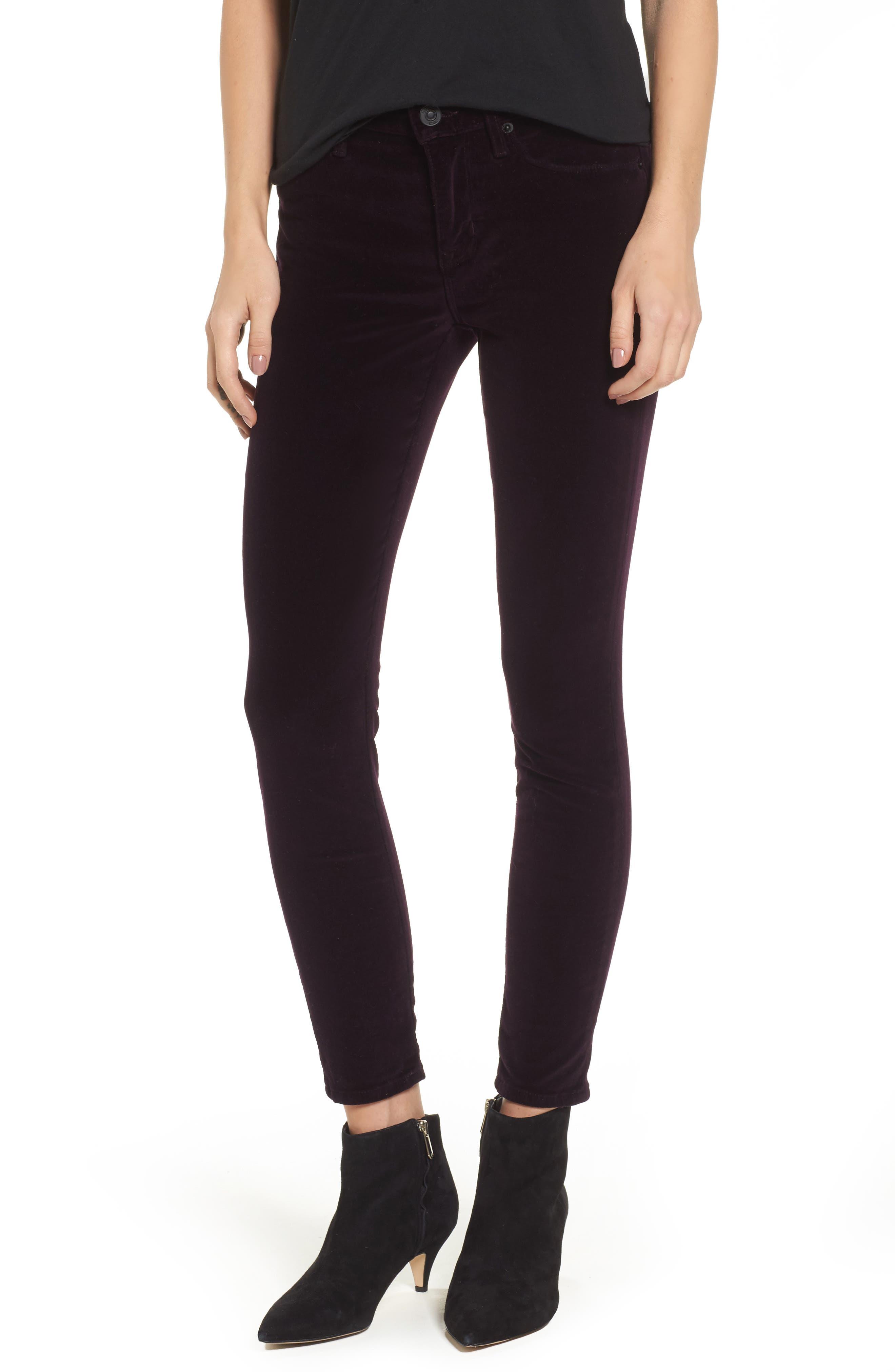 Nico Ankle Skinny Velvet Pants,                         Main,                         color, 500