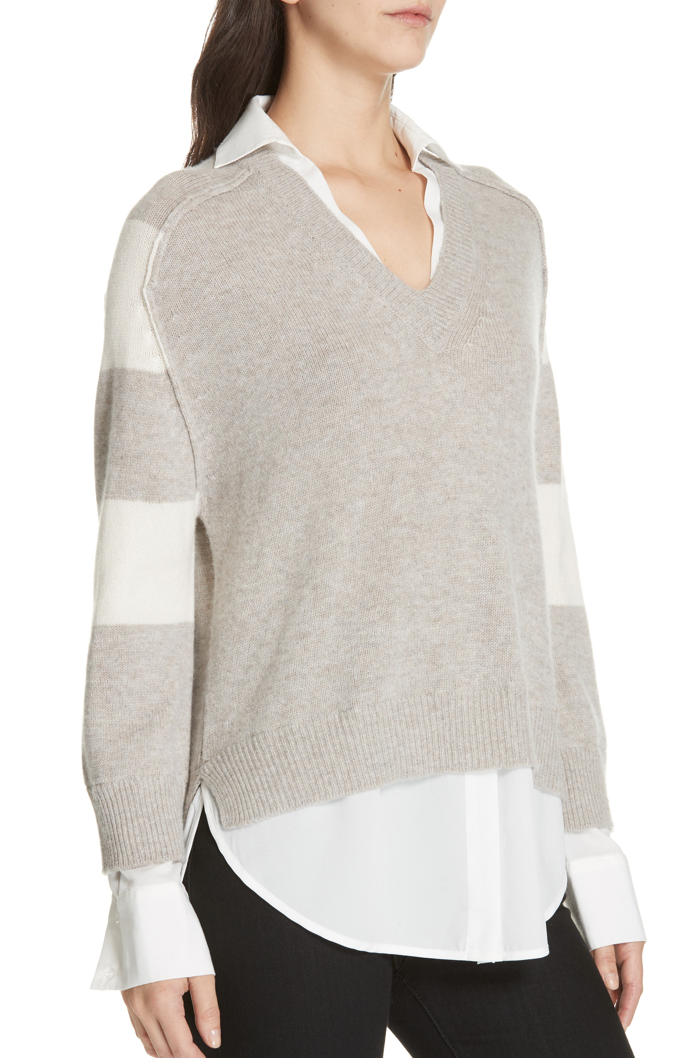 Layered Wool & Cashmere Sweater,                             Alternate thumbnail 4, color,                             LIGHT CHIA STRIPE