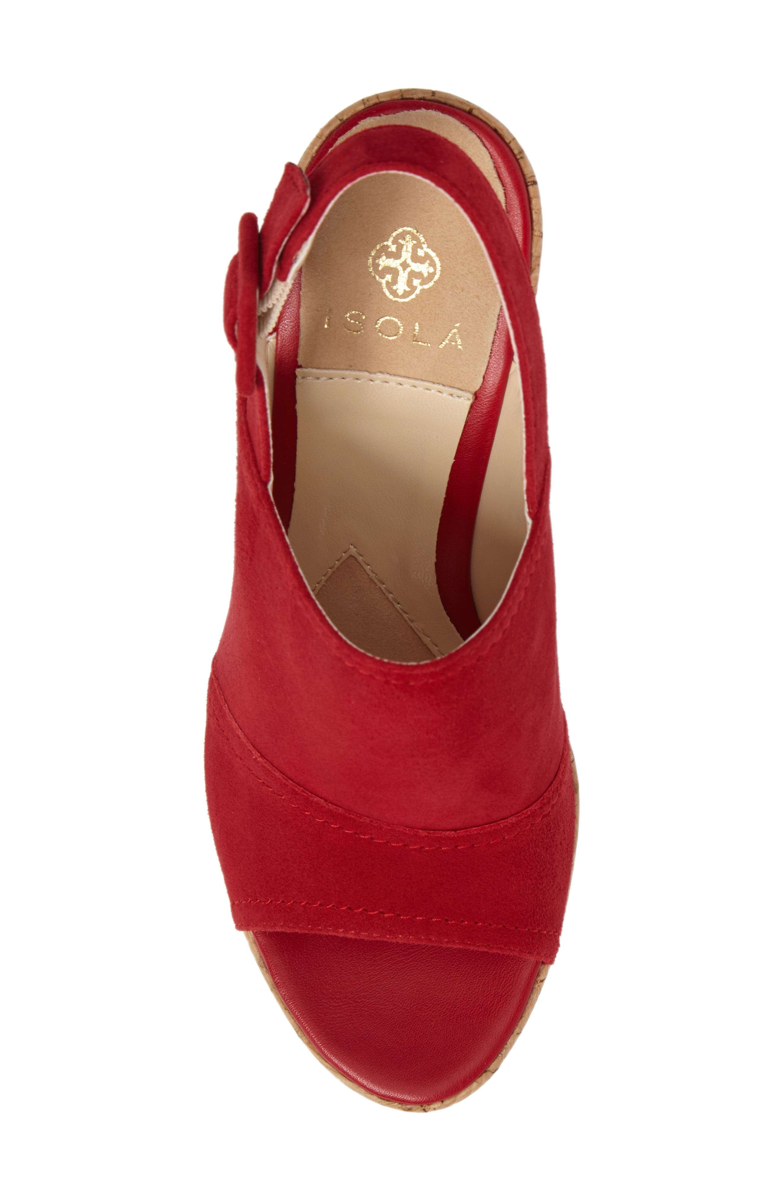 Gabriela Slingback Platform Sandal,                             Alternate thumbnail 5, color,                             FIRE RED SUEDE