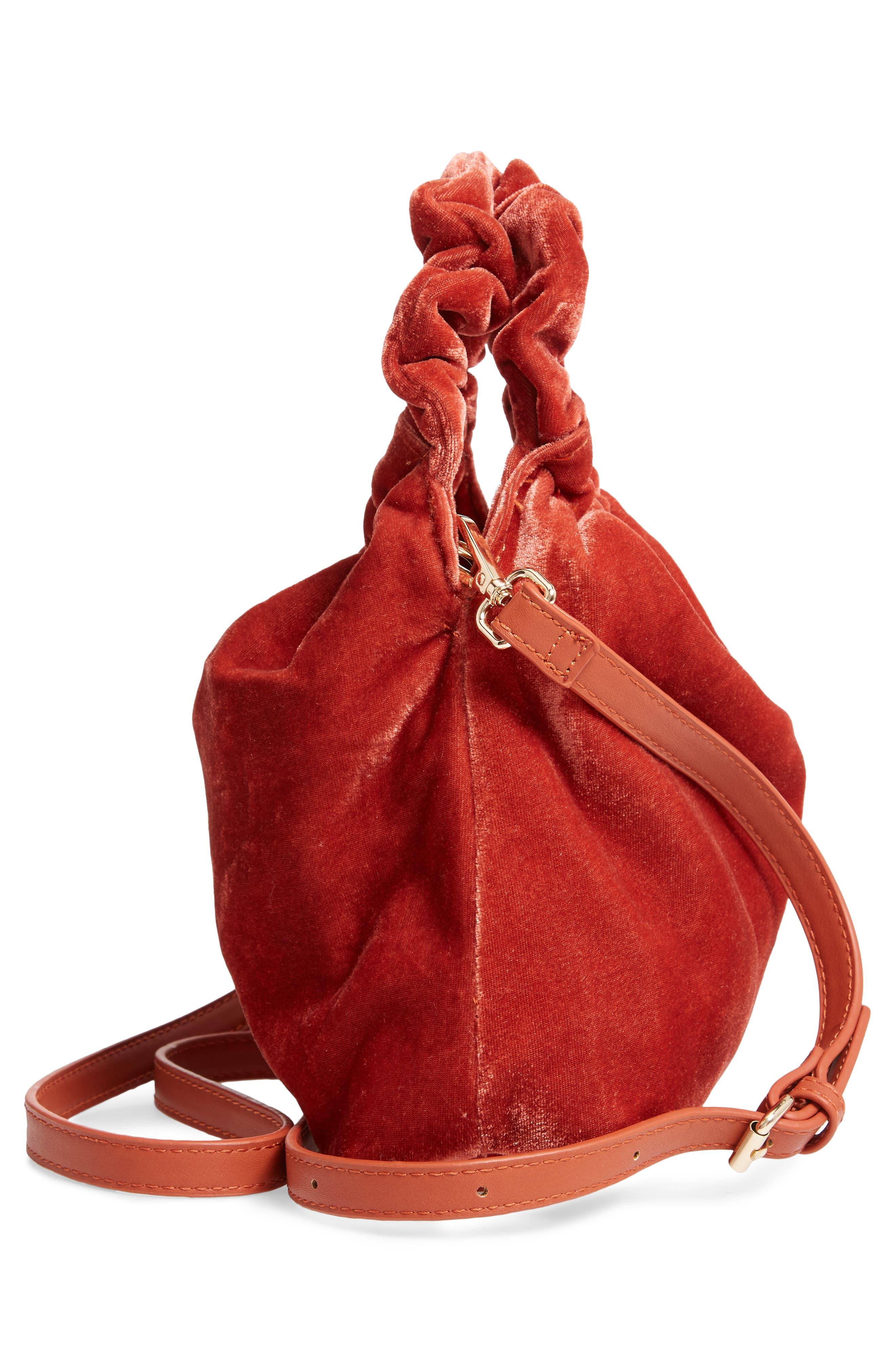 Mini Tyll Velvet Top Handle Bag,                             Alternate thumbnail 5, color,                             RUST