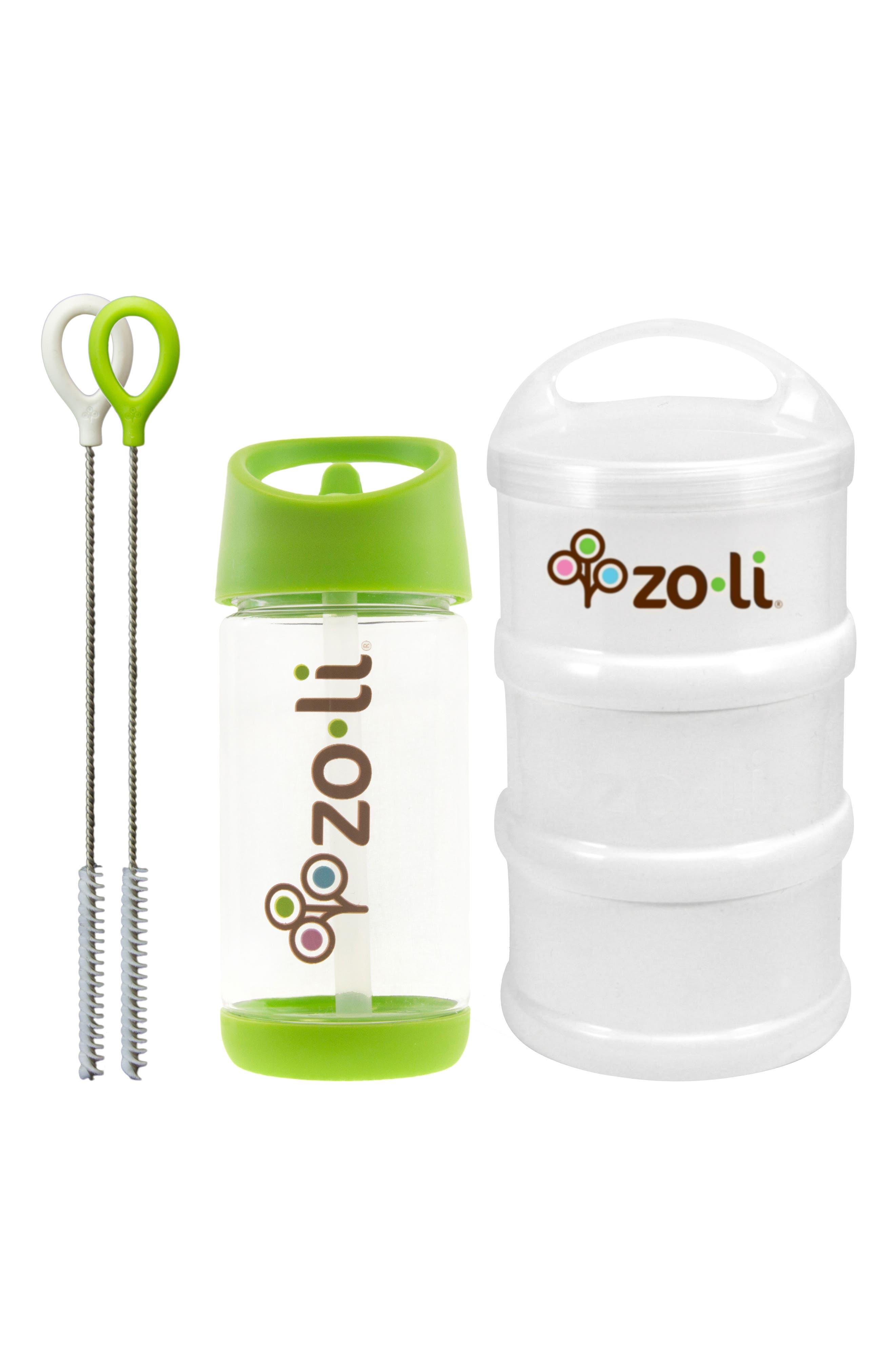 Snack & Water Bottle Set,                             Main thumbnail 1, color,                             GREEN/ WHITE