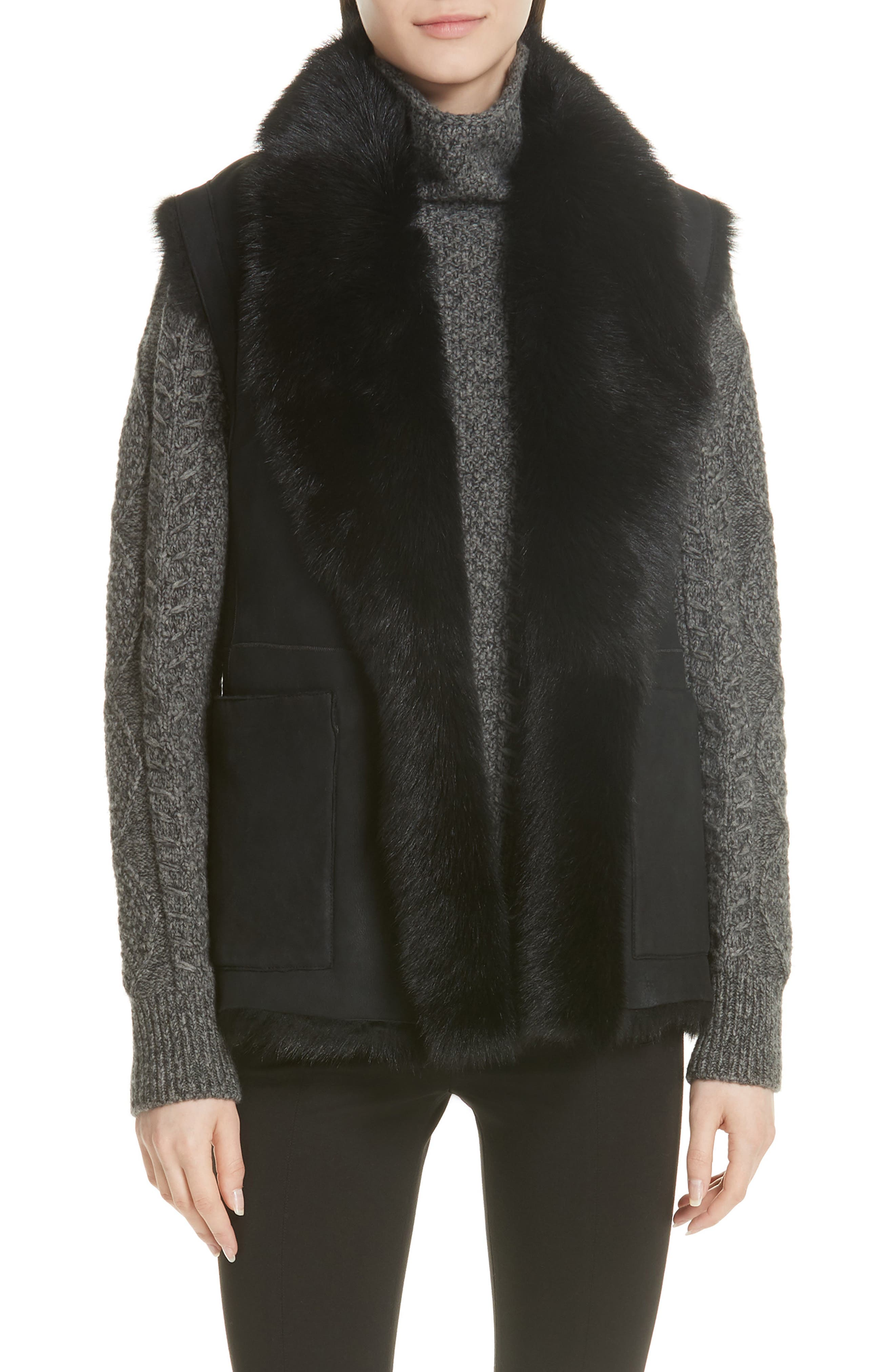 Genuine Toscana Shearling Vest,                             Main thumbnail 1, color,                             BLACK