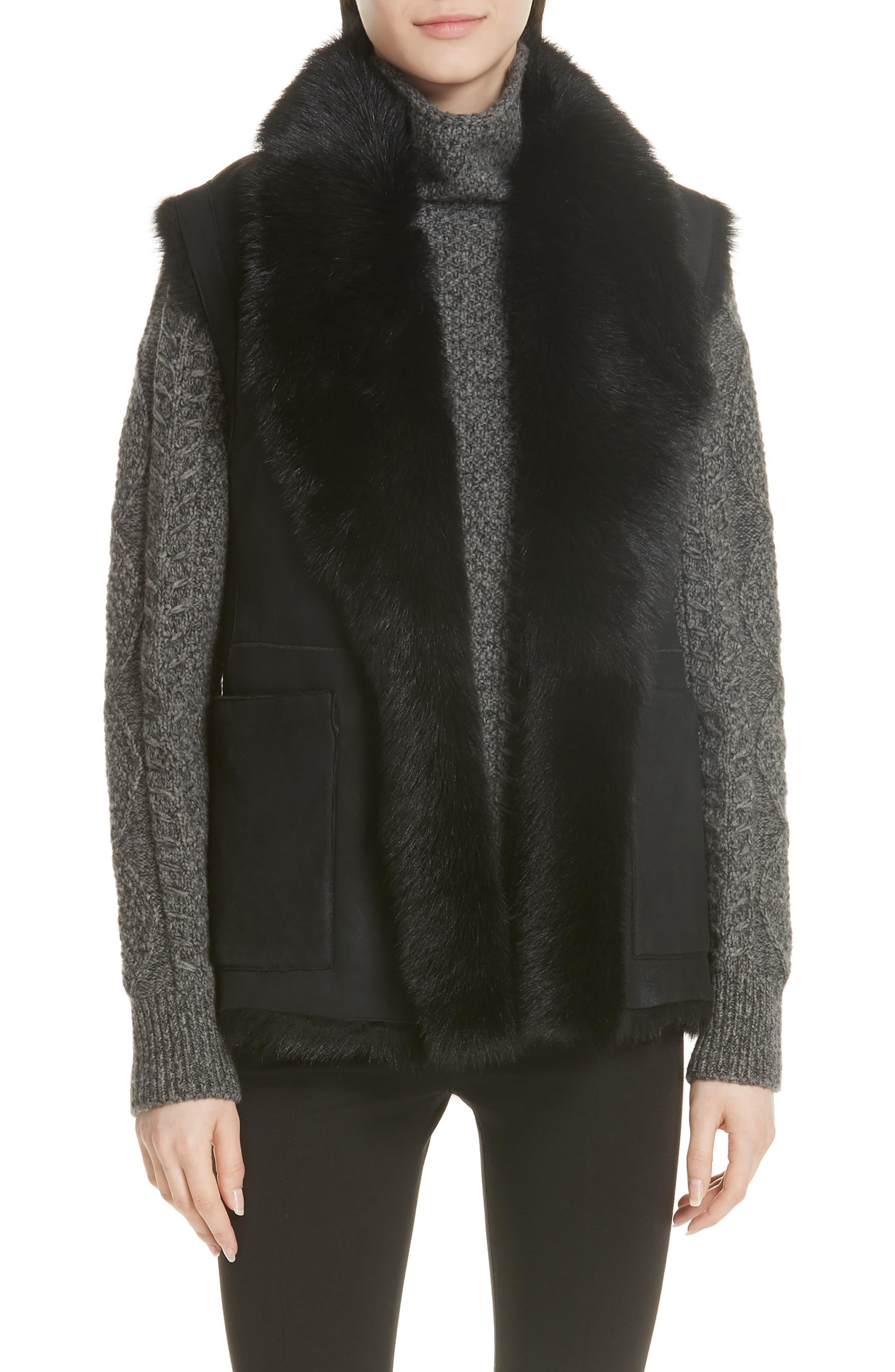 Genuine Toscana Shearling Vest,                         Main,                         color, BLACK