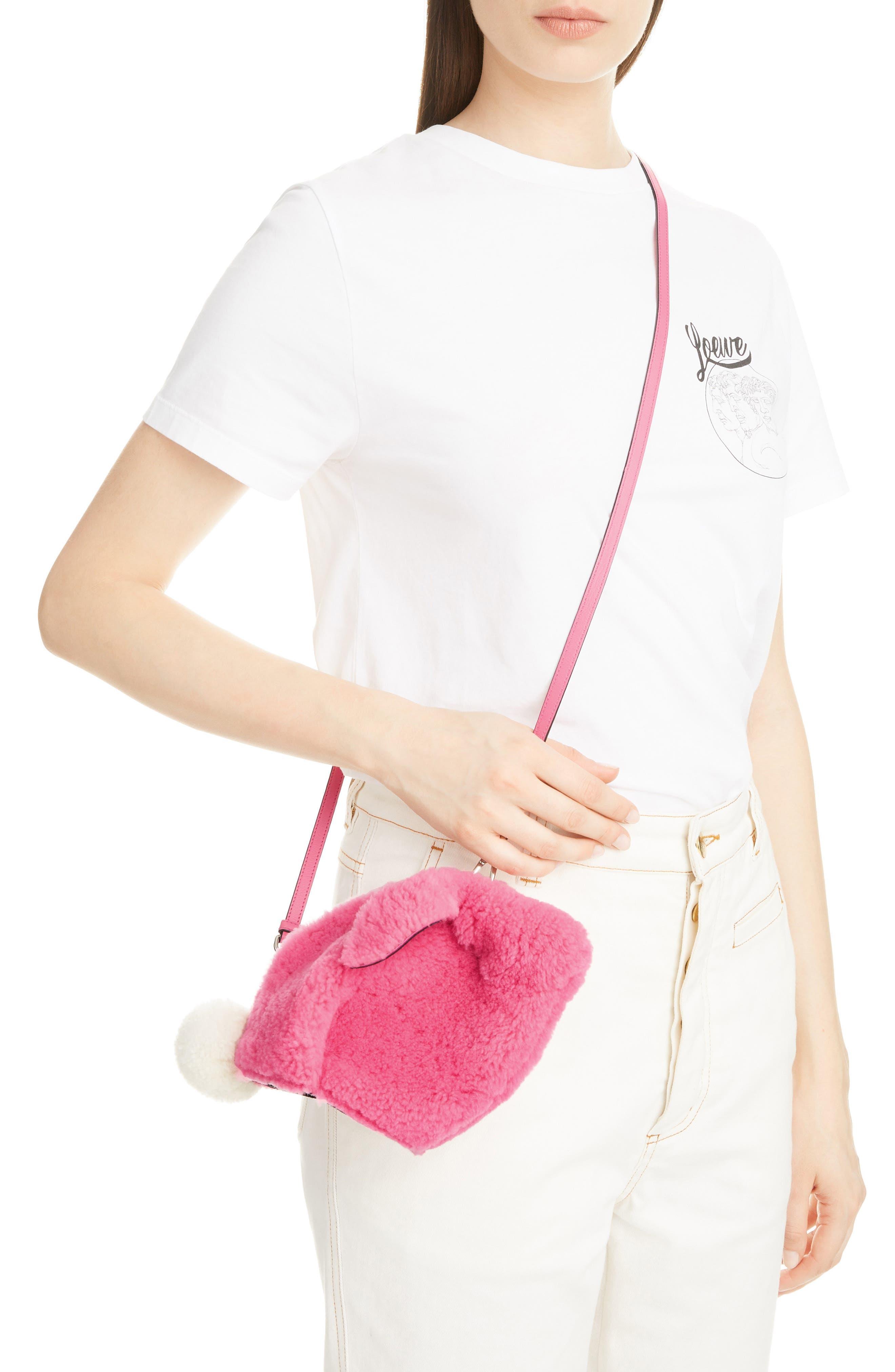Mini Bunny Fuzzy Genuine Shearling Crossbody Bag,                             Alternate thumbnail 2, color,                             WILD ROSE