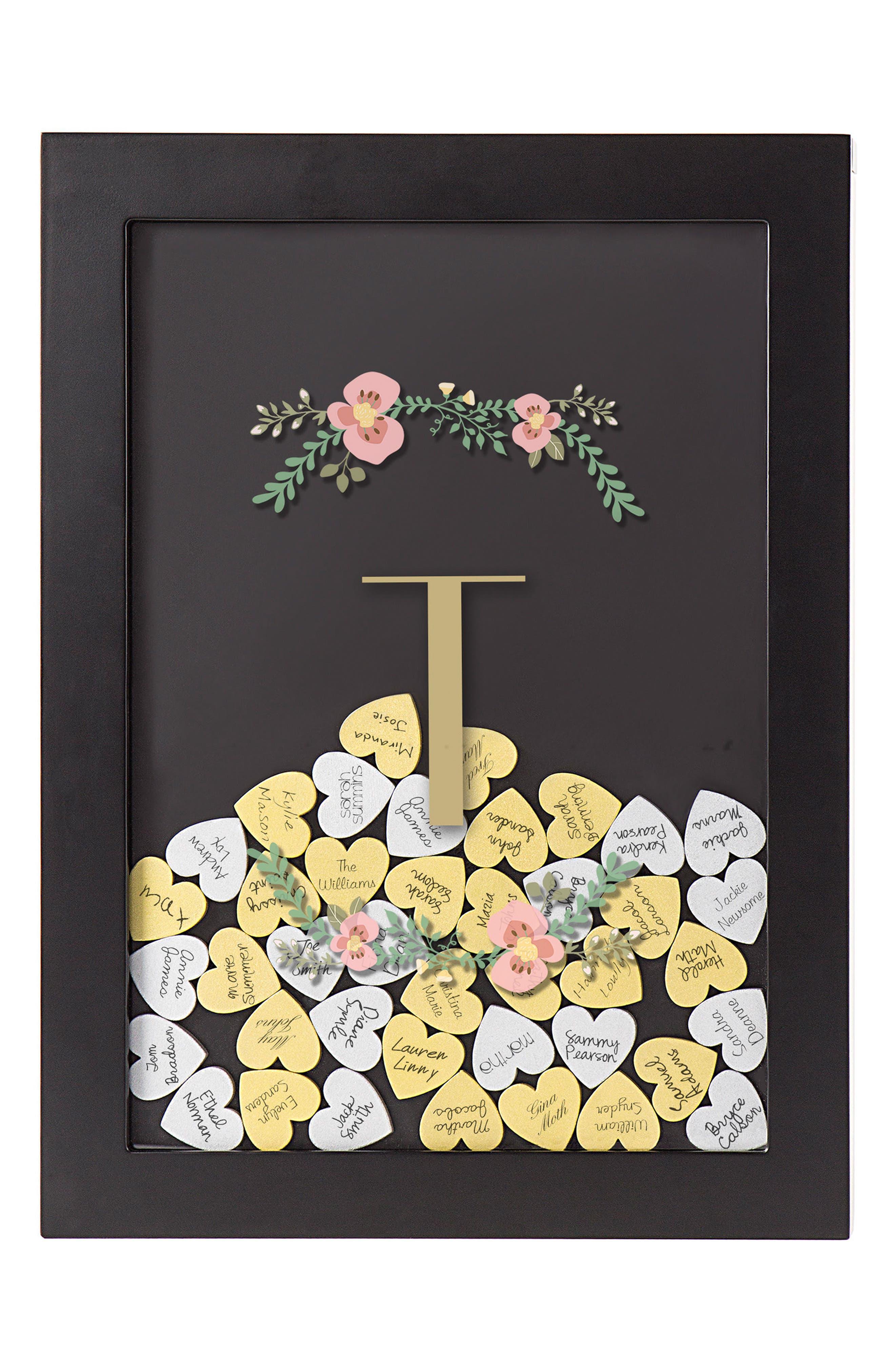Monogram Heart Drop Guestbook,                             Main thumbnail 20, color,