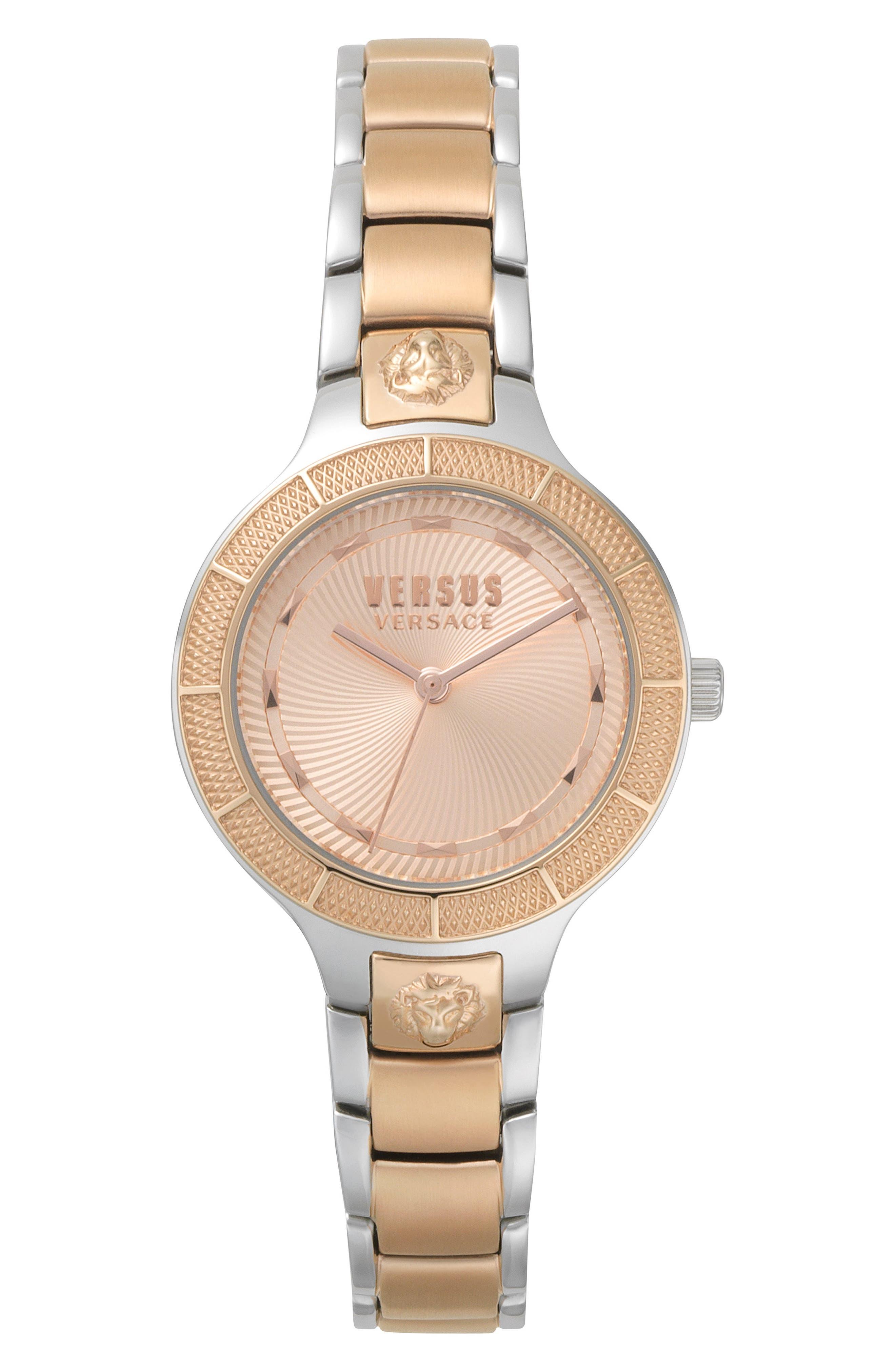 Claremont Bracelet Watch, 32mm,                             Main thumbnail 1, color,                             SILVER/ ROSE GOLD