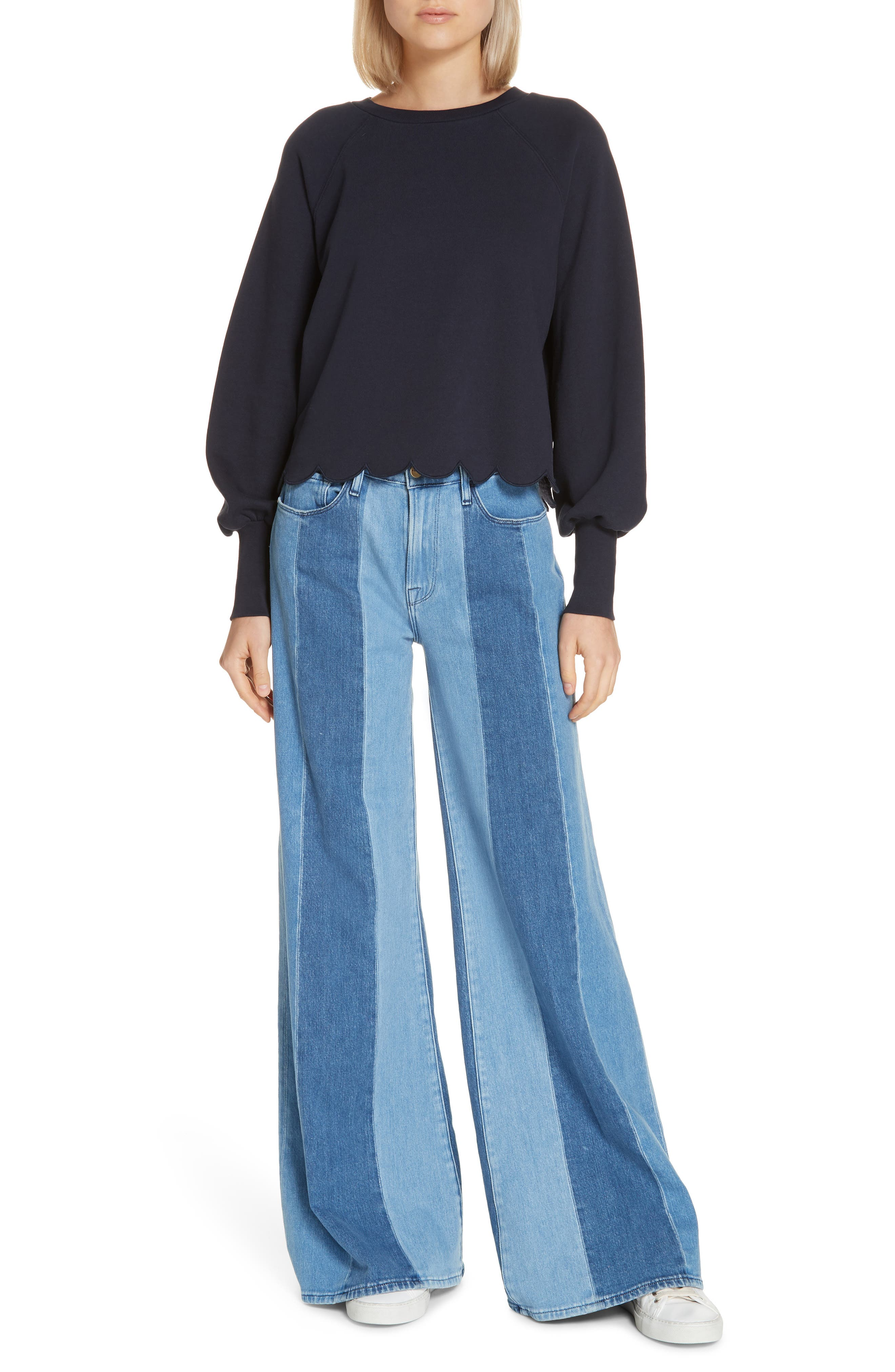 Le Palazzo Paneled Wide Leg Jeans,                             Alternate thumbnail 7, color,                             VINEYARD