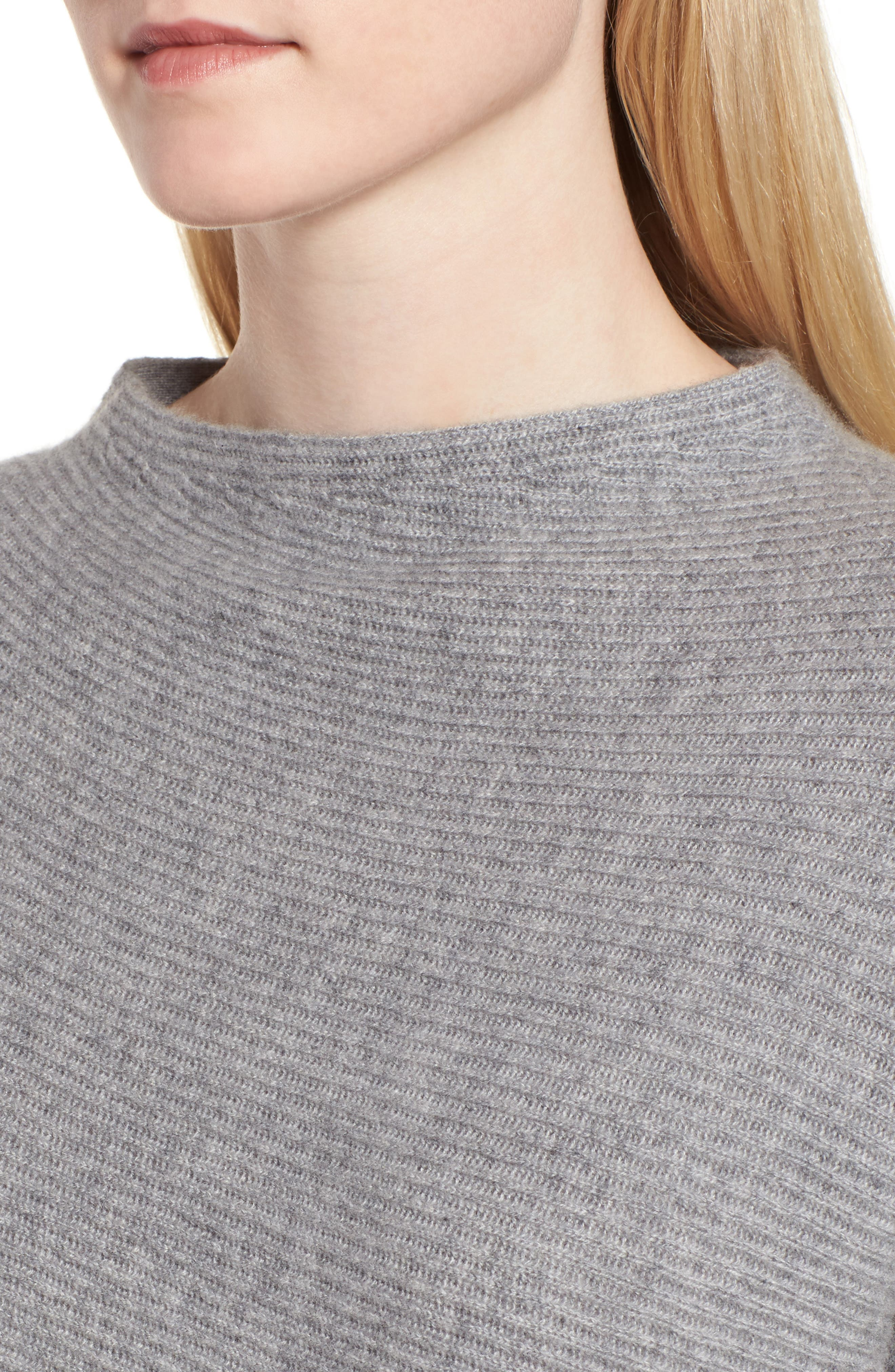 Cashmere Asymmetrical Pullover,                             Alternate thumbnail 4, color,                             GREY FILIGREE HEATHER