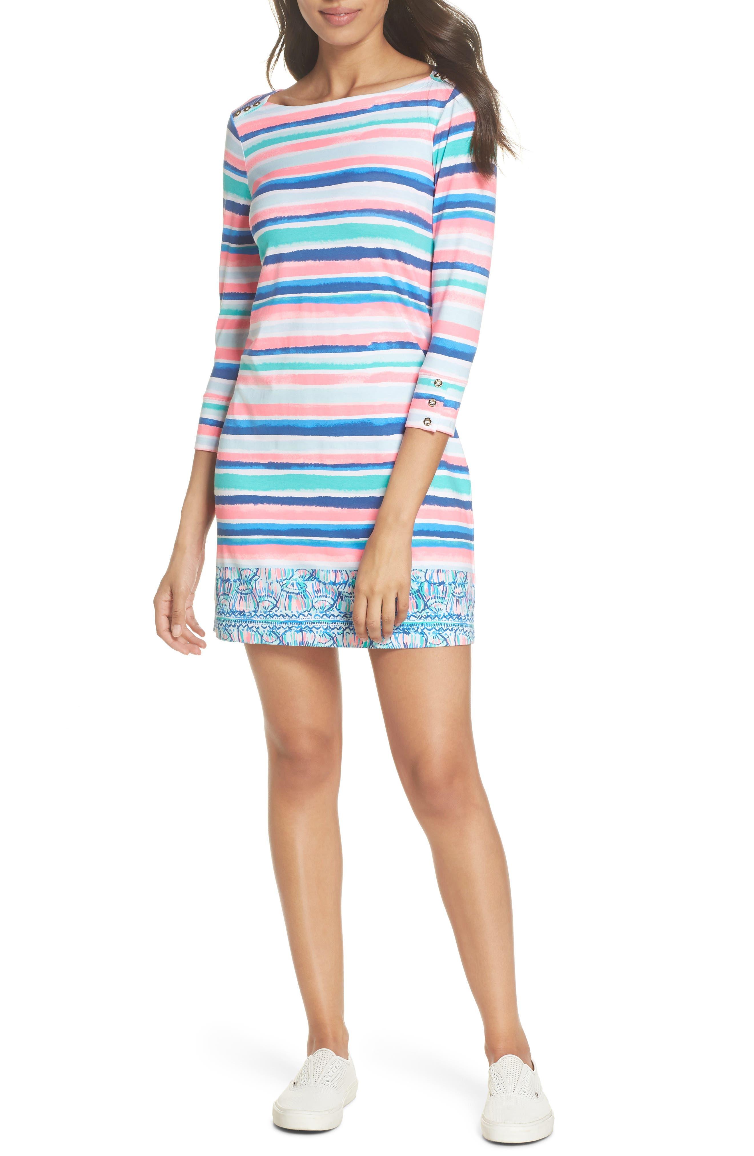 Sophie UPF 50+ Dress,                             Alternate thumbnail 6, color,                             MULTI SANDY SHELL STRIPE