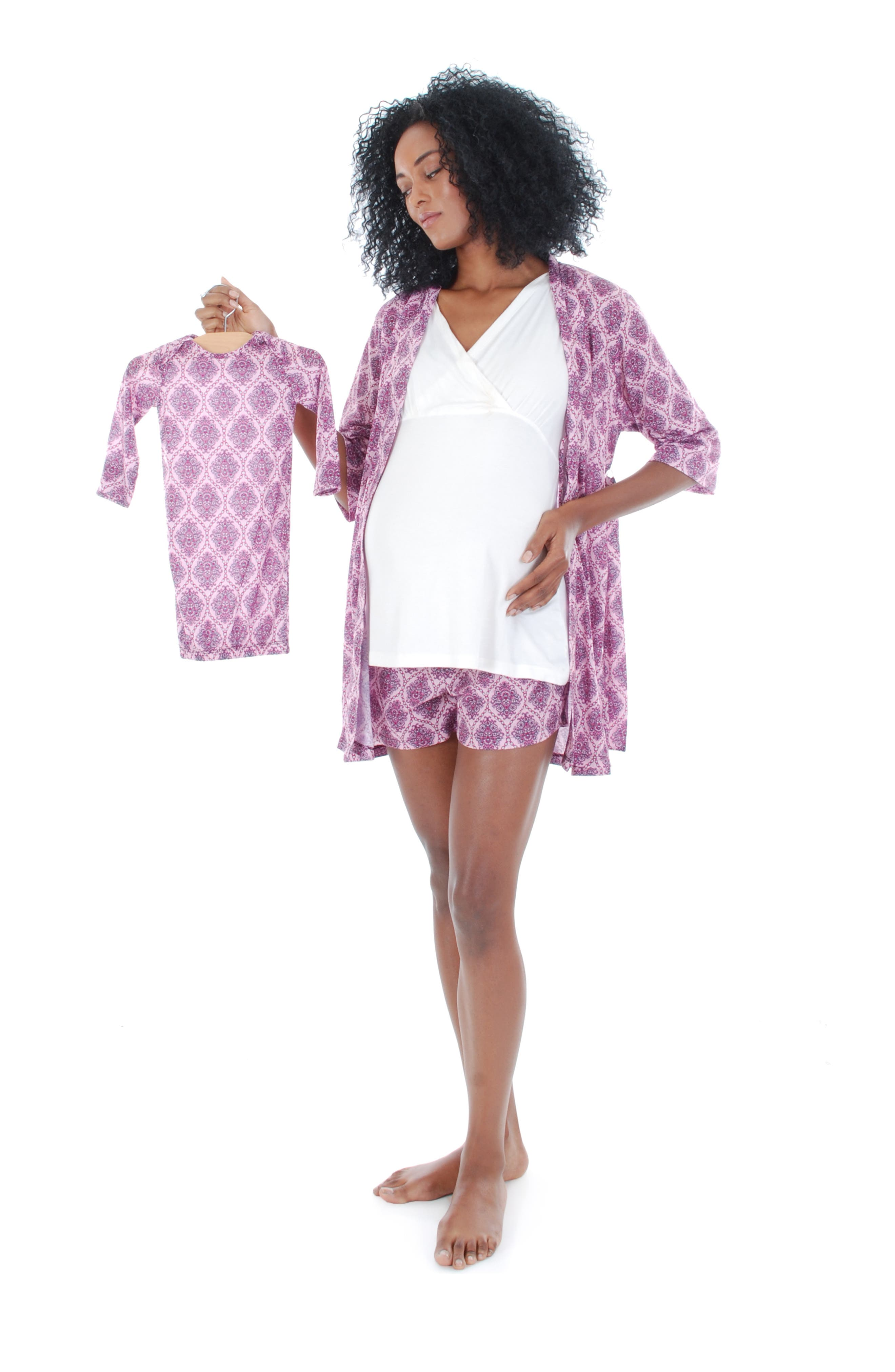 'Daphne - During & After' 5-Piece Maternity Sleepwear Set,                             Alternate thumbnail 4, color,                             500