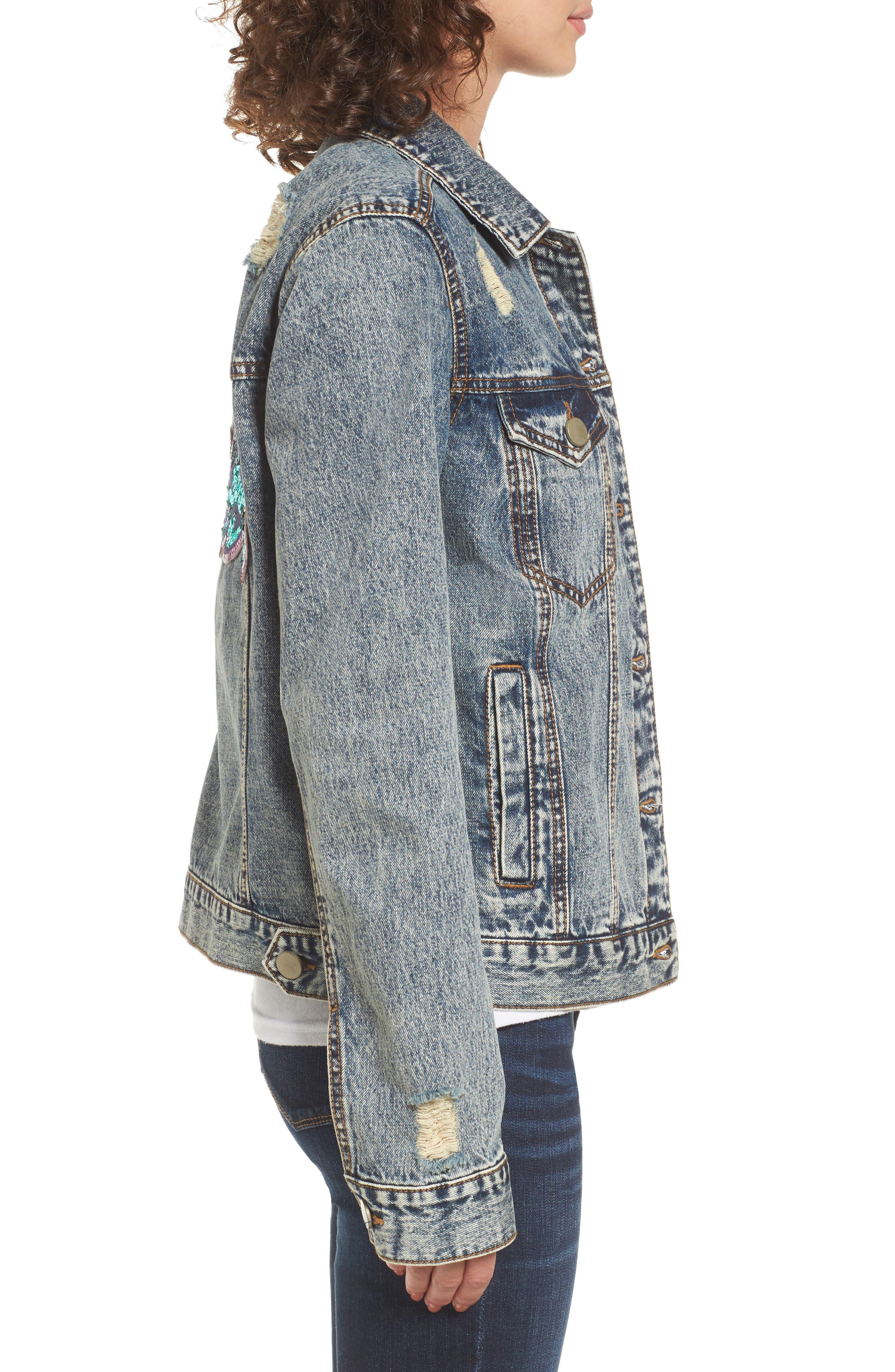 Bossy Embellished Denim Jacket,                             Alternate thumbnail 3, color,                             420