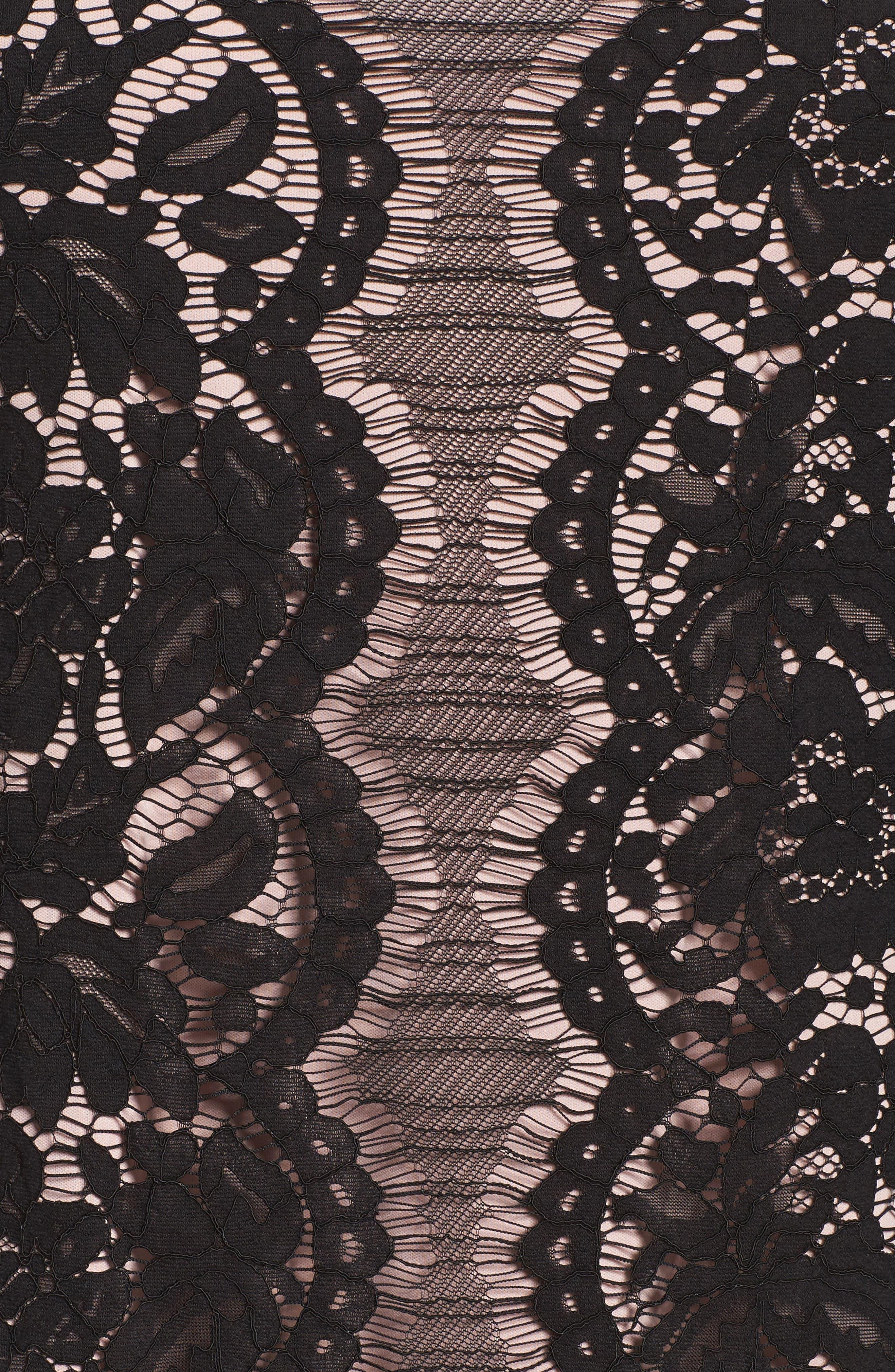 Lace A-Line Dress,                             Alternate thumbnail 5, color,                             001