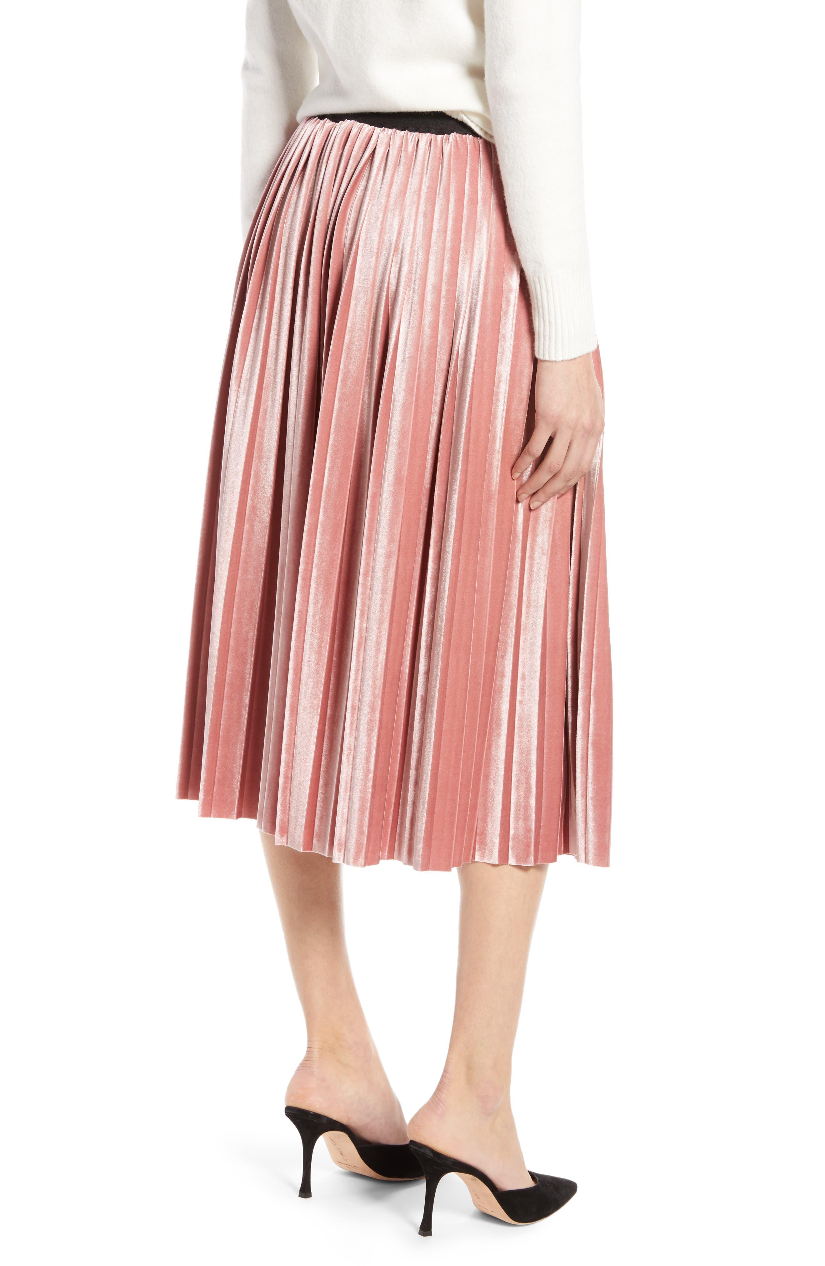 Velvet Pleated Midi Skirt,                             Alternate thumbnail 2, color,                             PINK MESA
