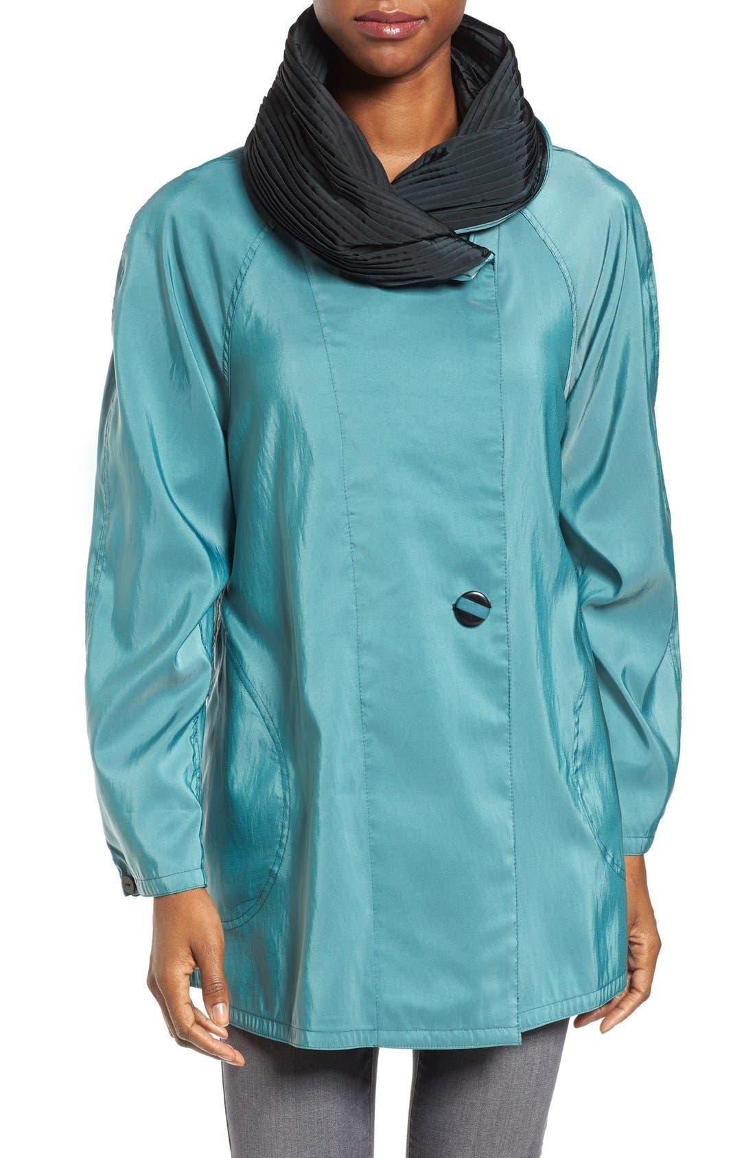 'Mini Donatella' Reversible Pleat Hood Packable Travel Coat,                             Main thumbnail 9, color,