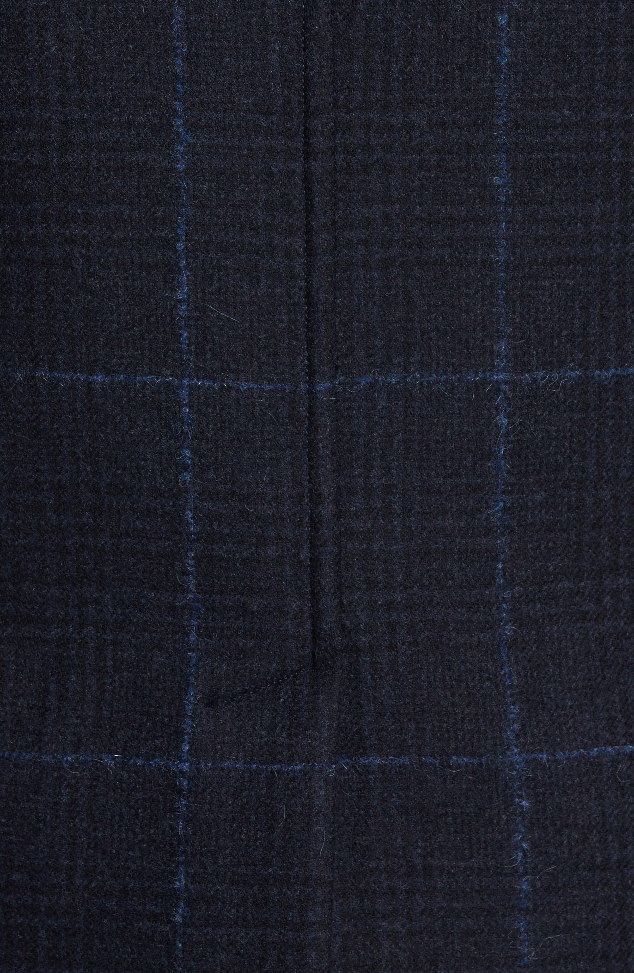 Wool Plaid Peacoat,                             Alternate thumbnail 6, color,                             411
