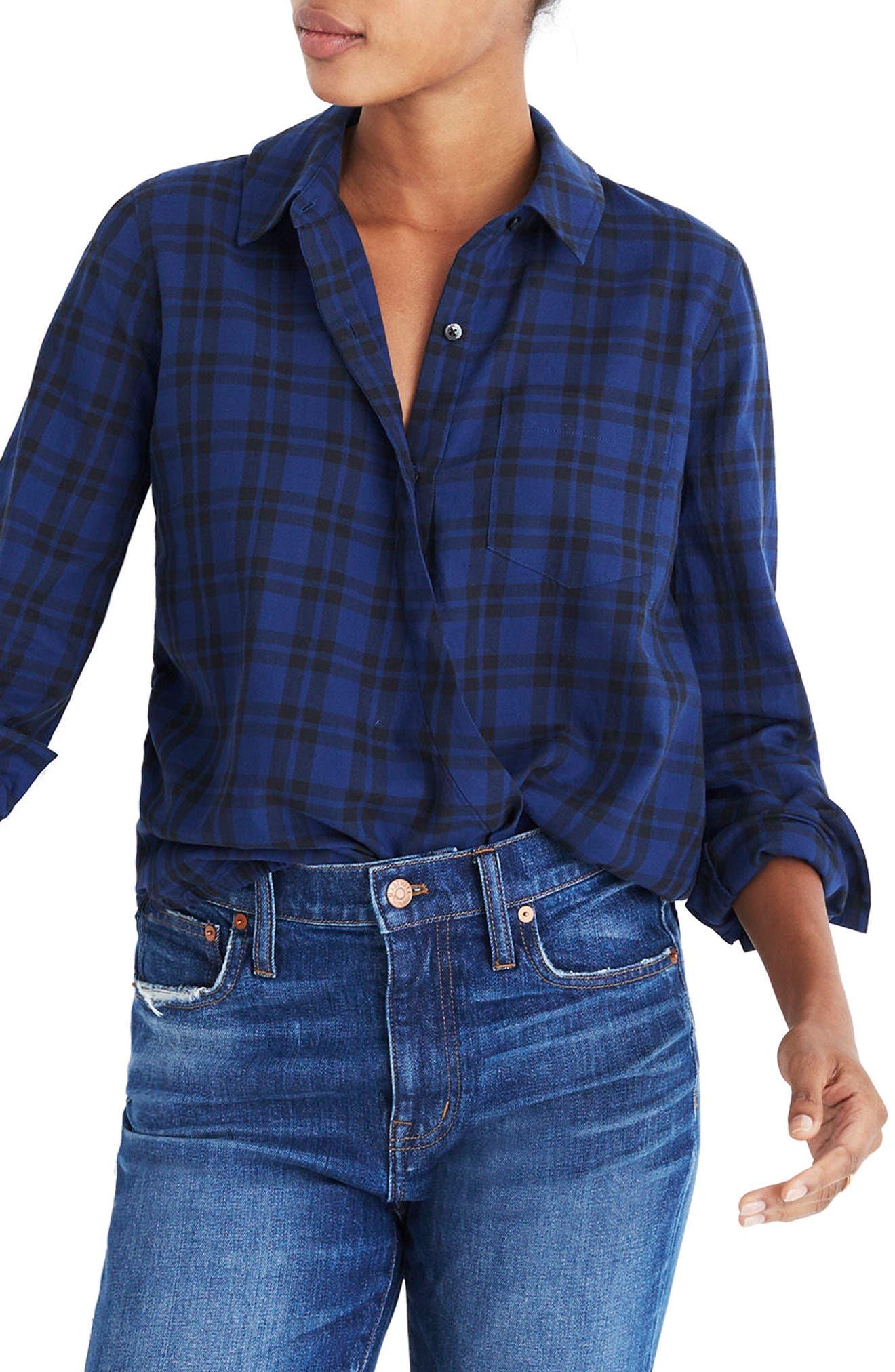 Plaid Faux Wrap Shirt,                         Main,                         color, 490