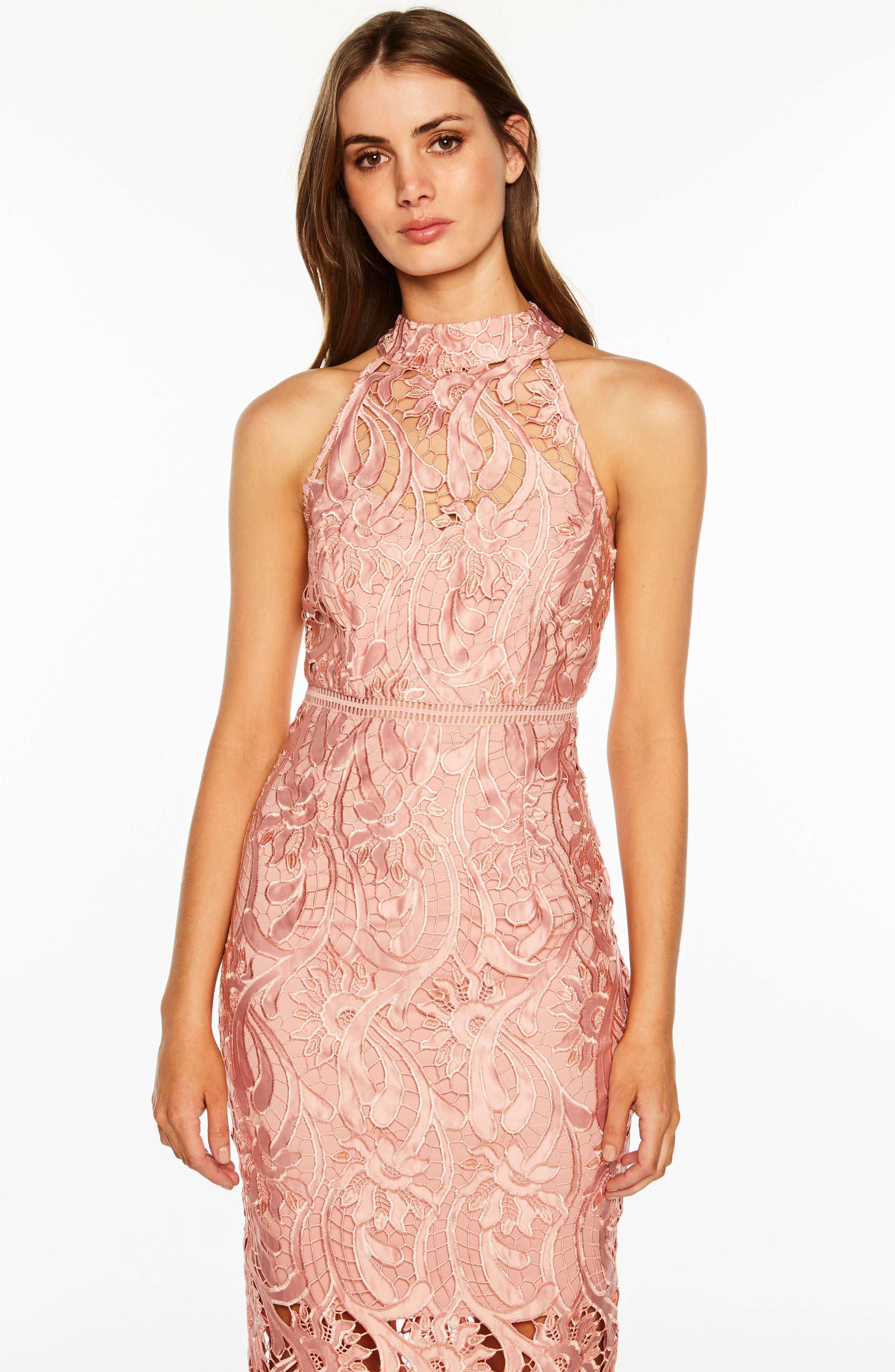 Isa Lace Halter Dress,                             Alternate thumbnail 6, color,                             VINTAGE ROSE