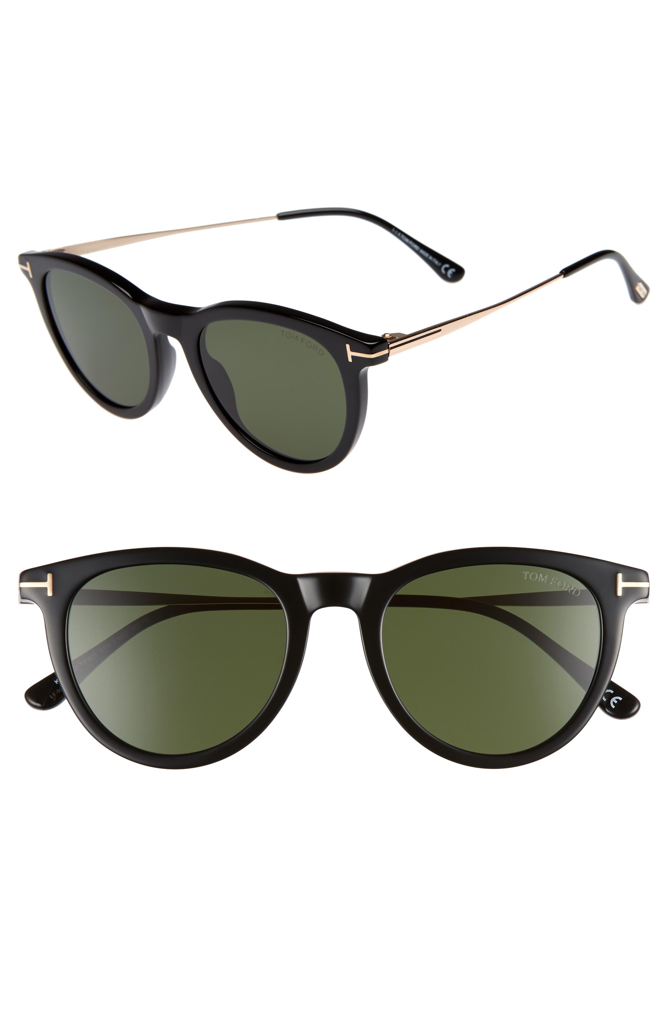 51mm Cat Eye Sunglasses,                         Main,                         color, SHINY BLACK/ GREEN