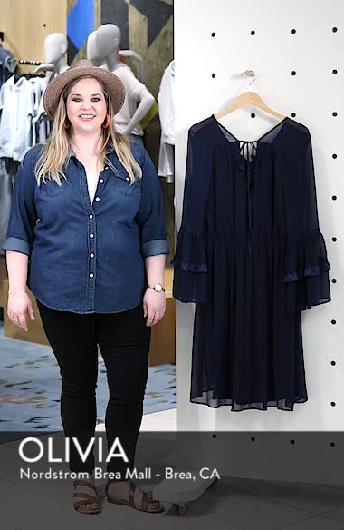Satin Trim Chiffon Dress, sales video thumbnail