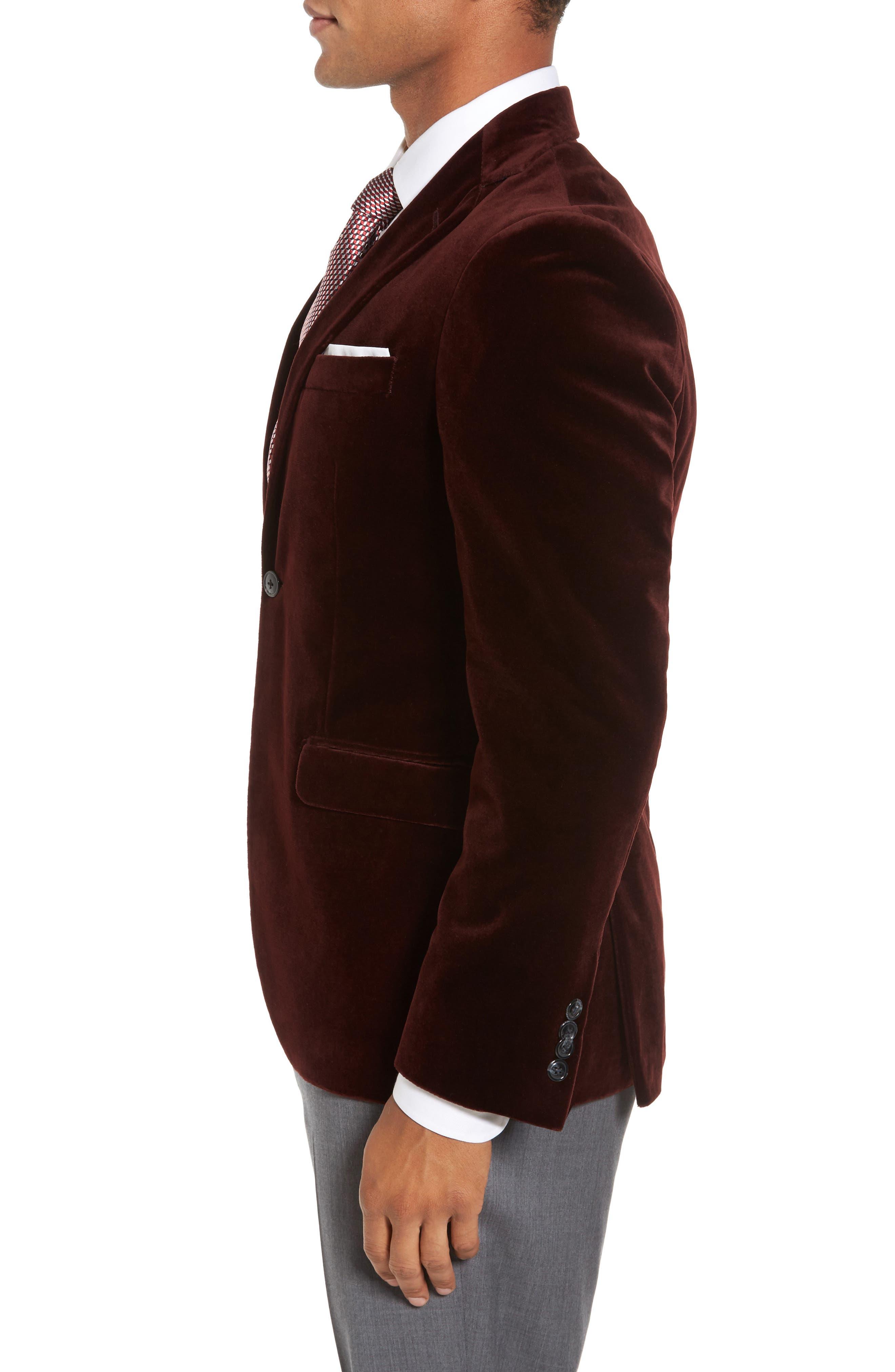 Noble Trim Fit Velvet Blazer,                             Alternate thumbnail 3, color,                             935