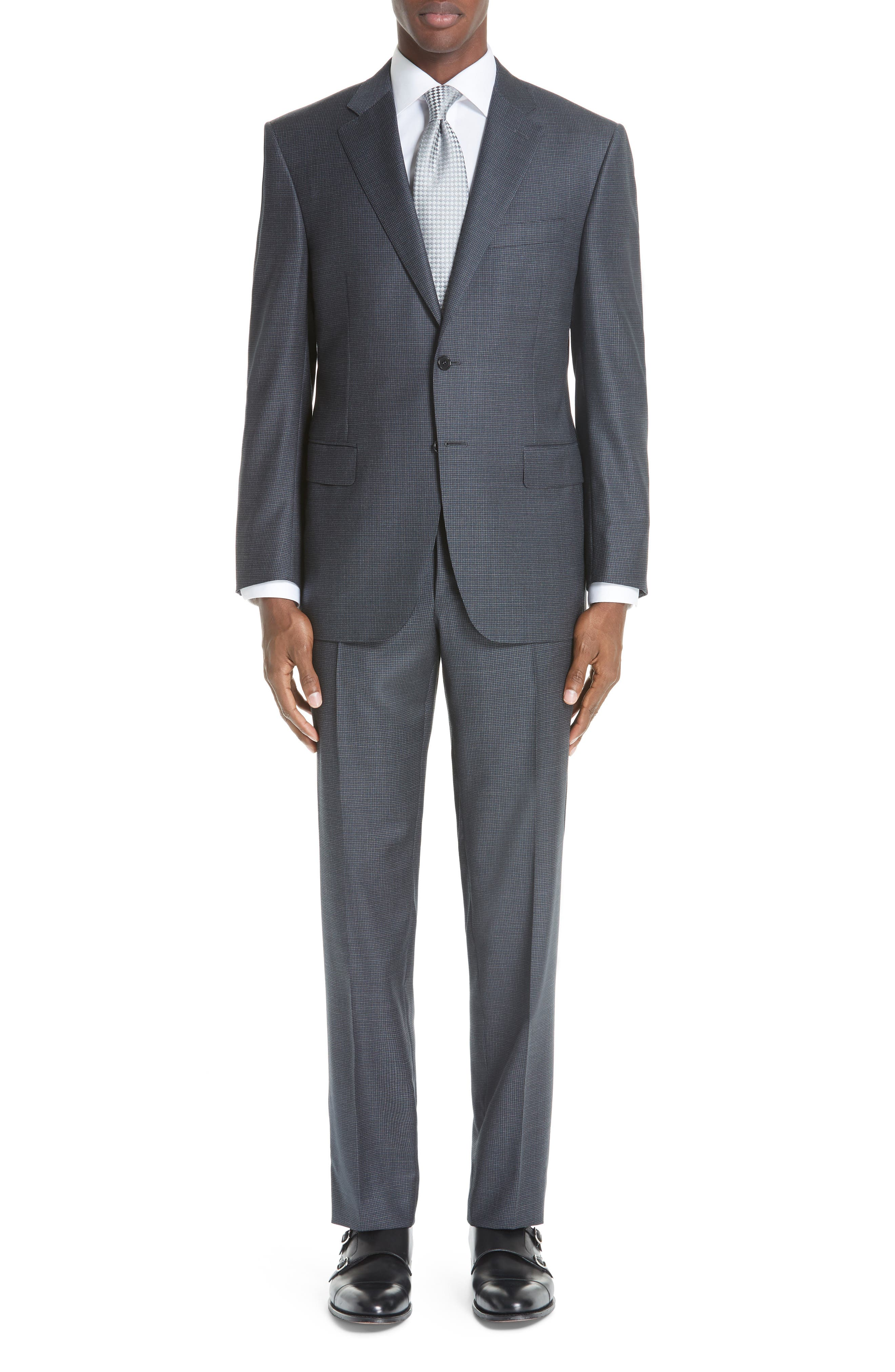 Classic Fit Houndstooth Wool Suit,                         Main,                         color, DARK GREY
