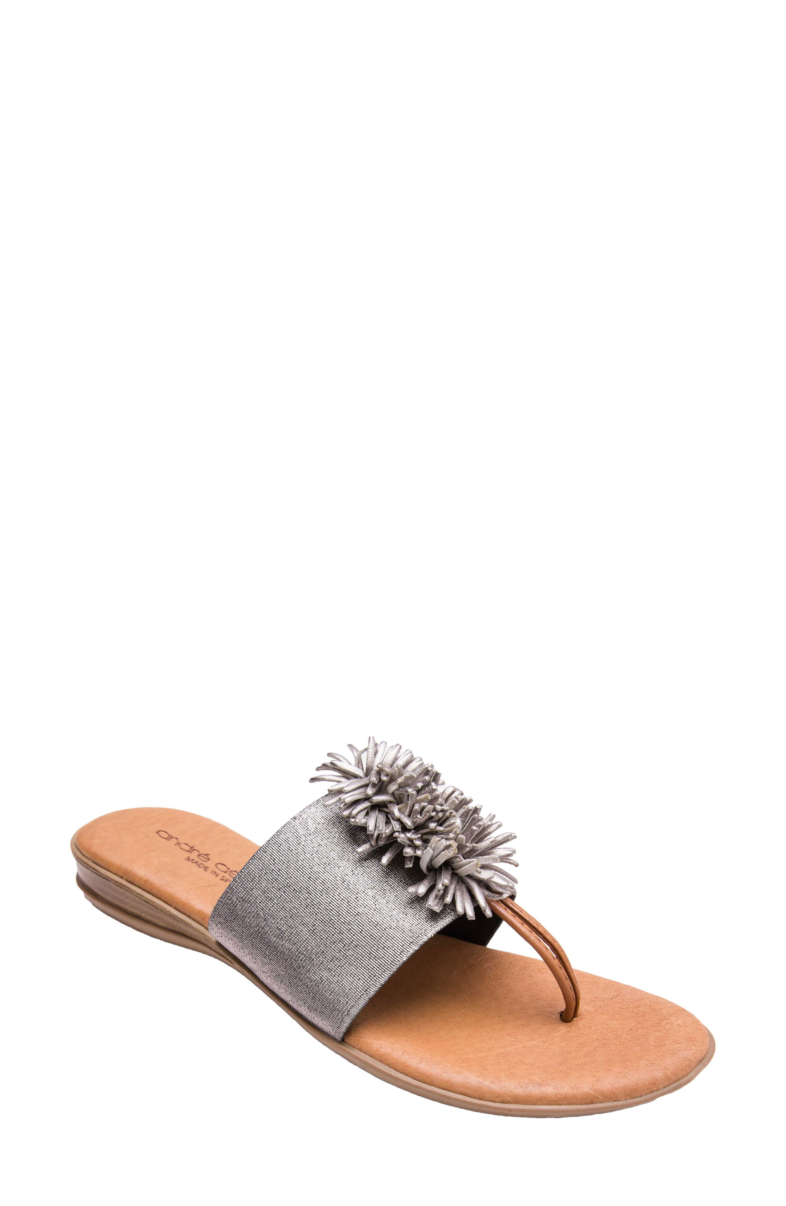 ANDRE ASSOUS Women'S Novalee Leather Fringe Demi Wedge Sandals in Pewter Fabric