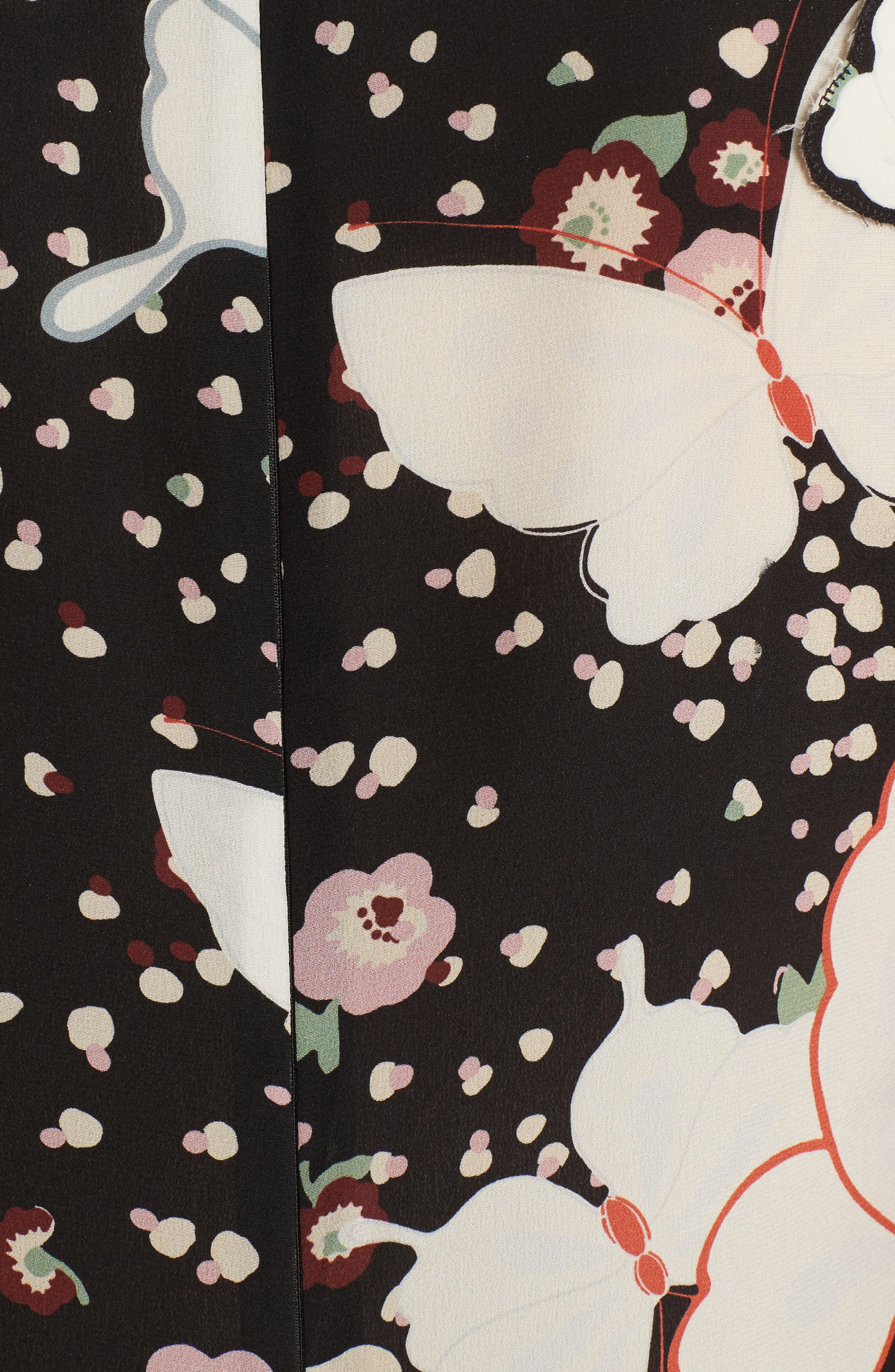 Pop Butterfly Appliqué Silk Crêpe de Chine Dress,                             Alternate thumbnail 5, color,                             001