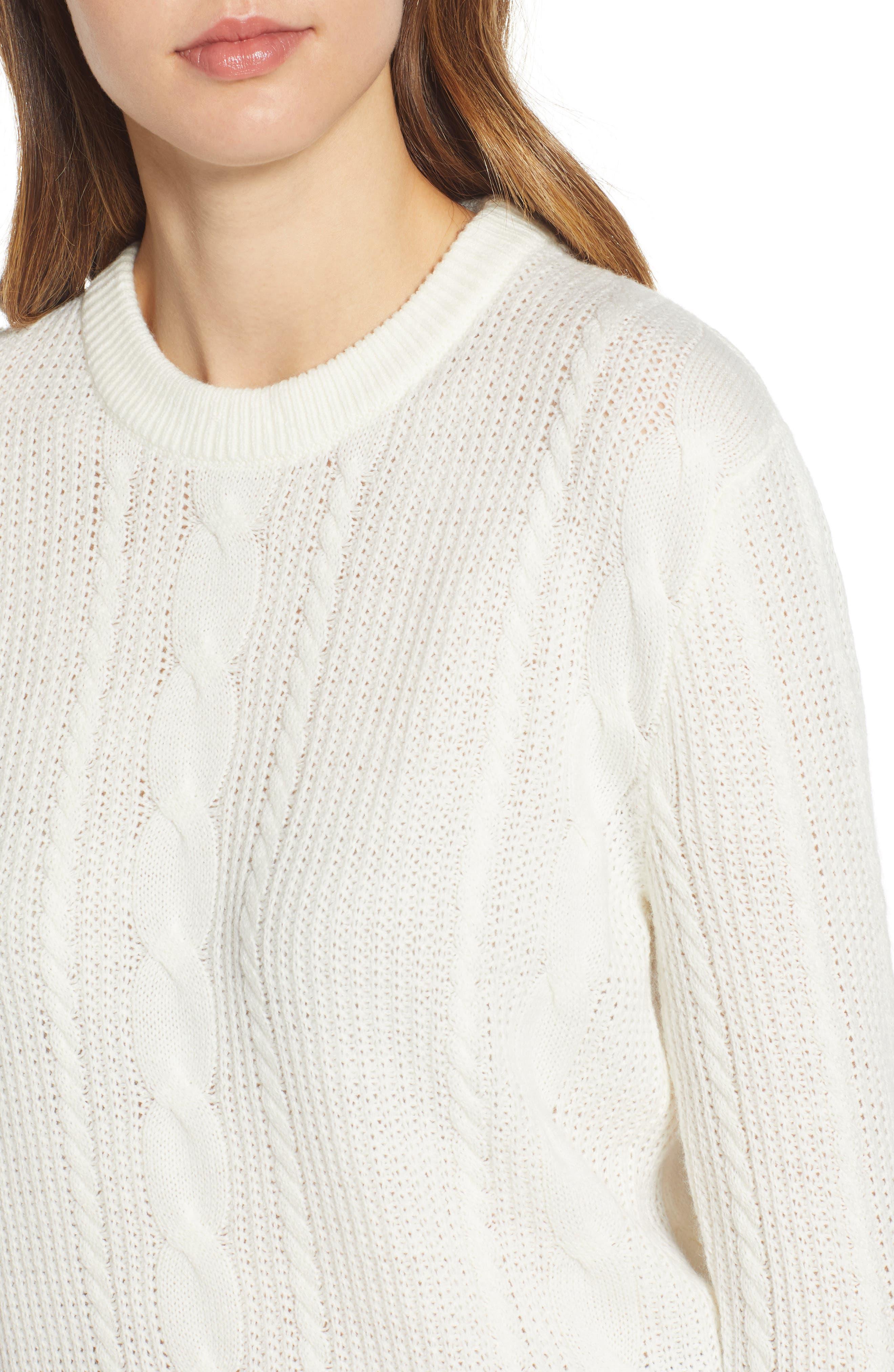TJW Cable Knit Sweater,                             Alternate thumbnail 4, color,                             CLOUD DANCER