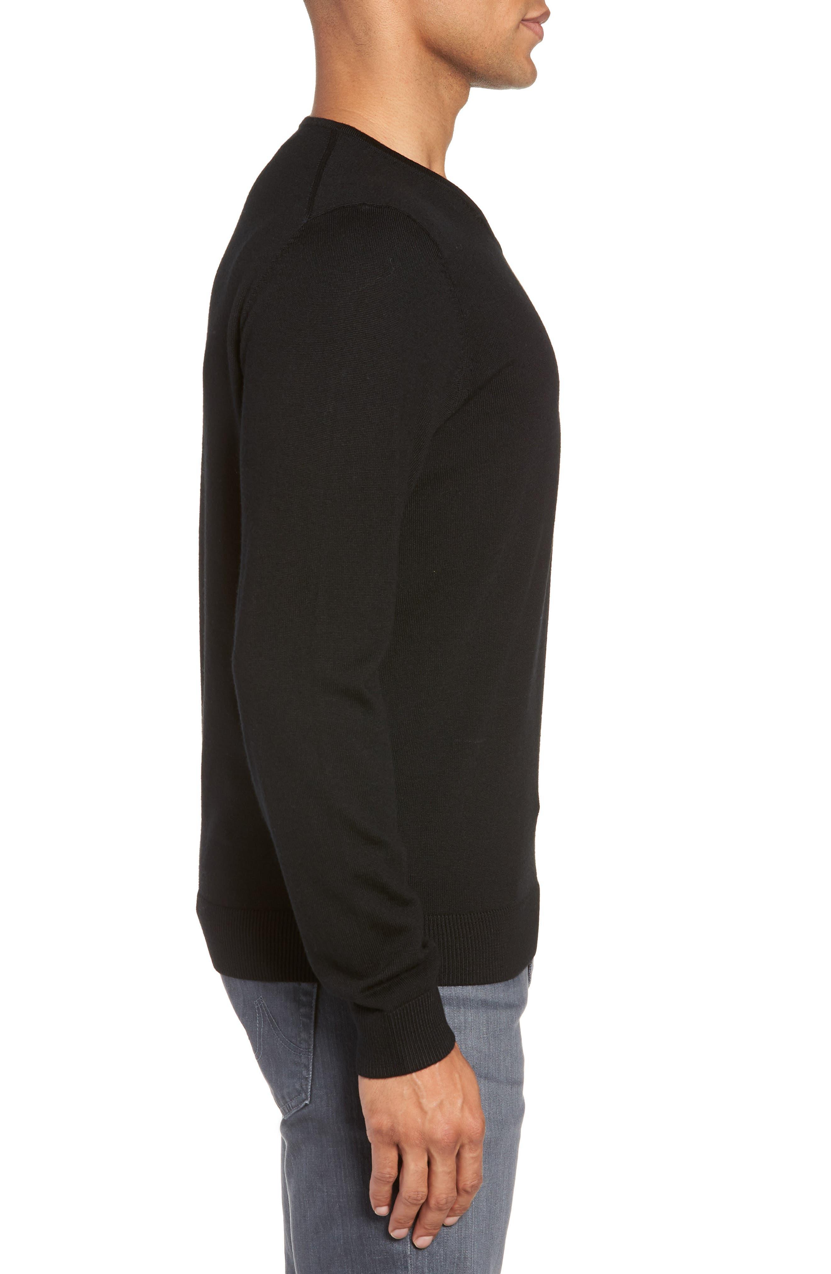 Regular Fit Merino Wool V-Neck Sweater,                             Alternate thumbnail 3, color,                             BLACK CAVIAR