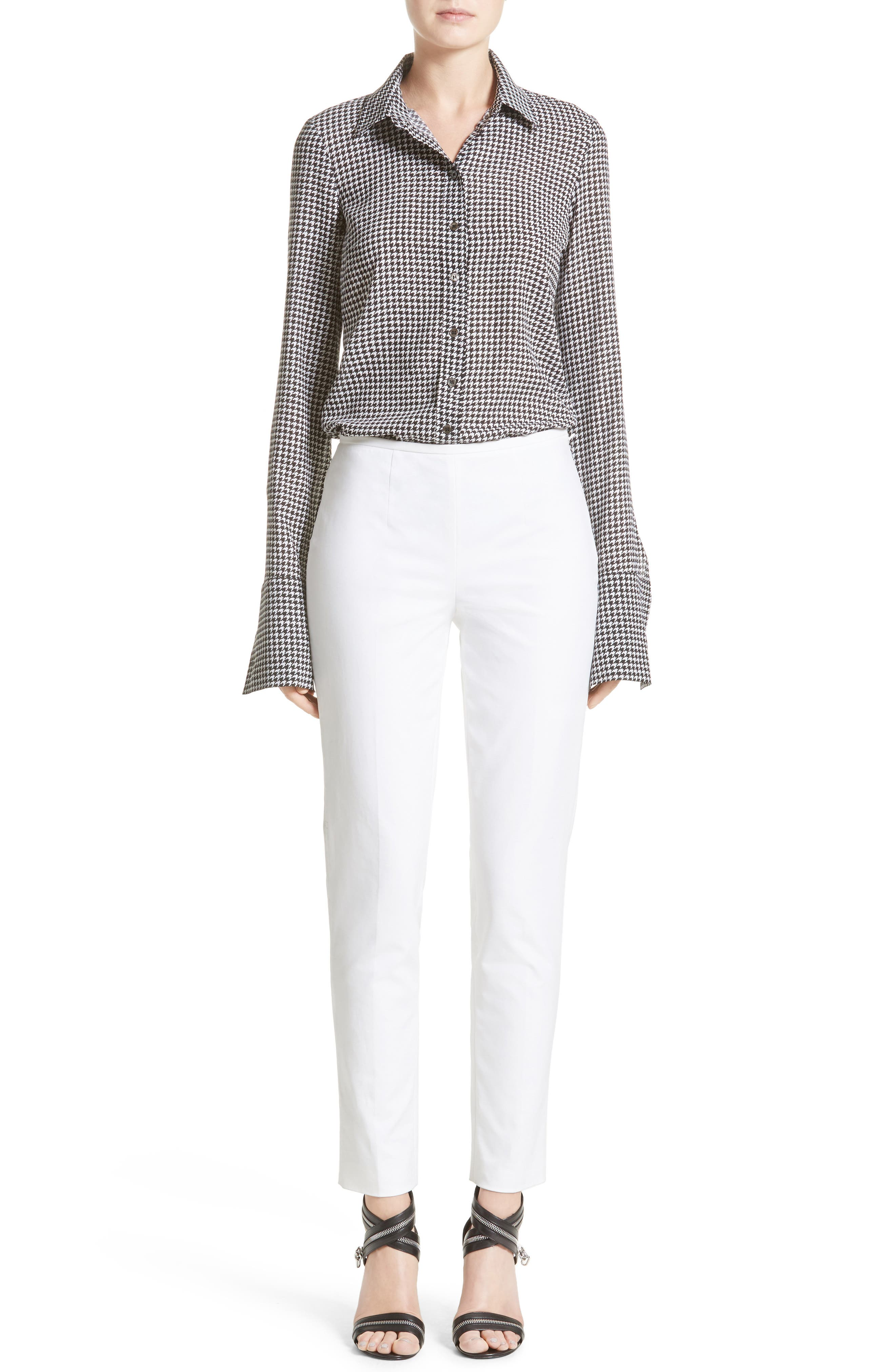 Houndstooth Silk Georgette Shirt,                             Alternate thumbnail 6, color,                             003
