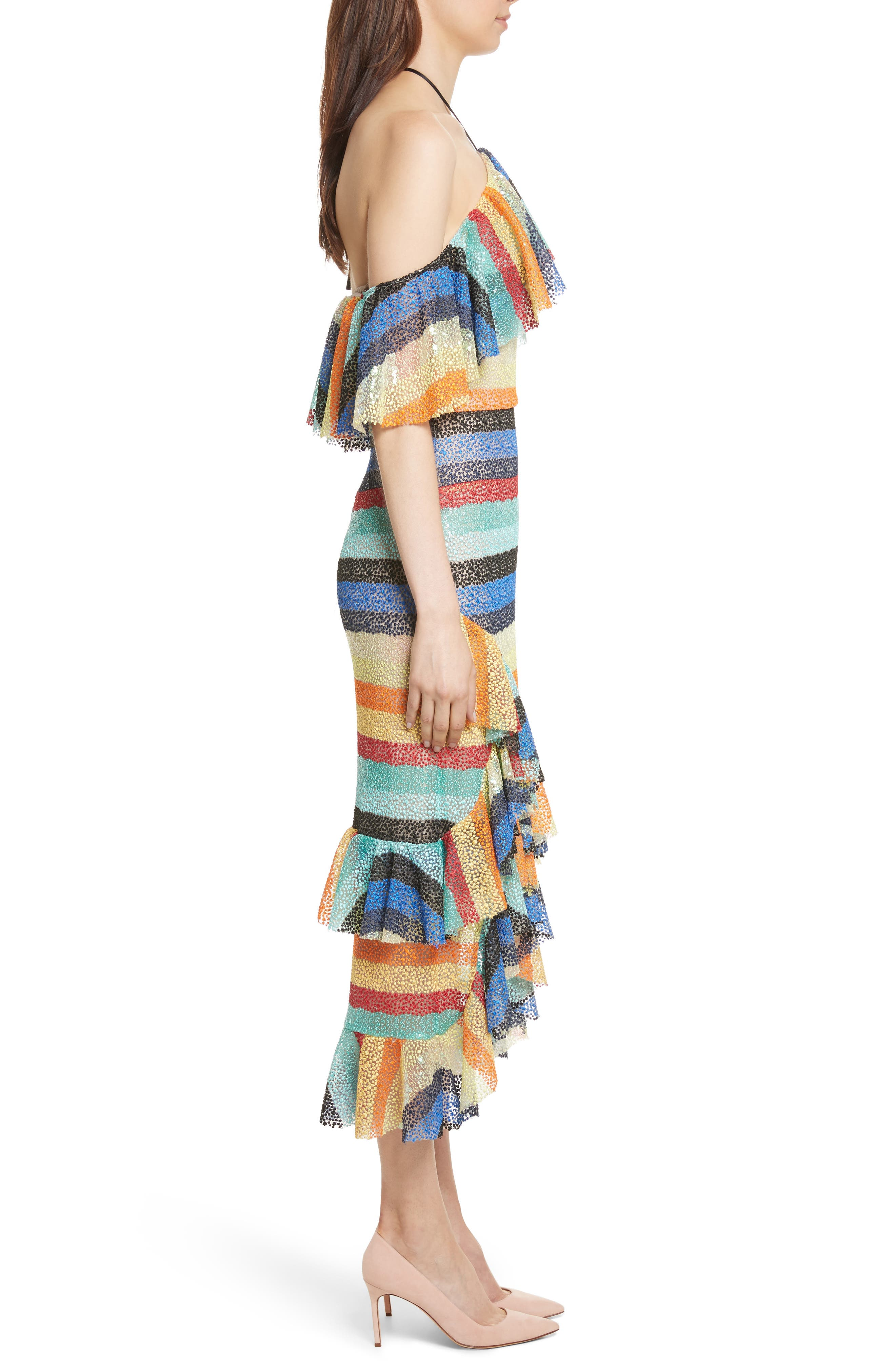 Annabeth Off the Shoulder Midi Dress,                             Alternate thumbnail 3, color,                             006