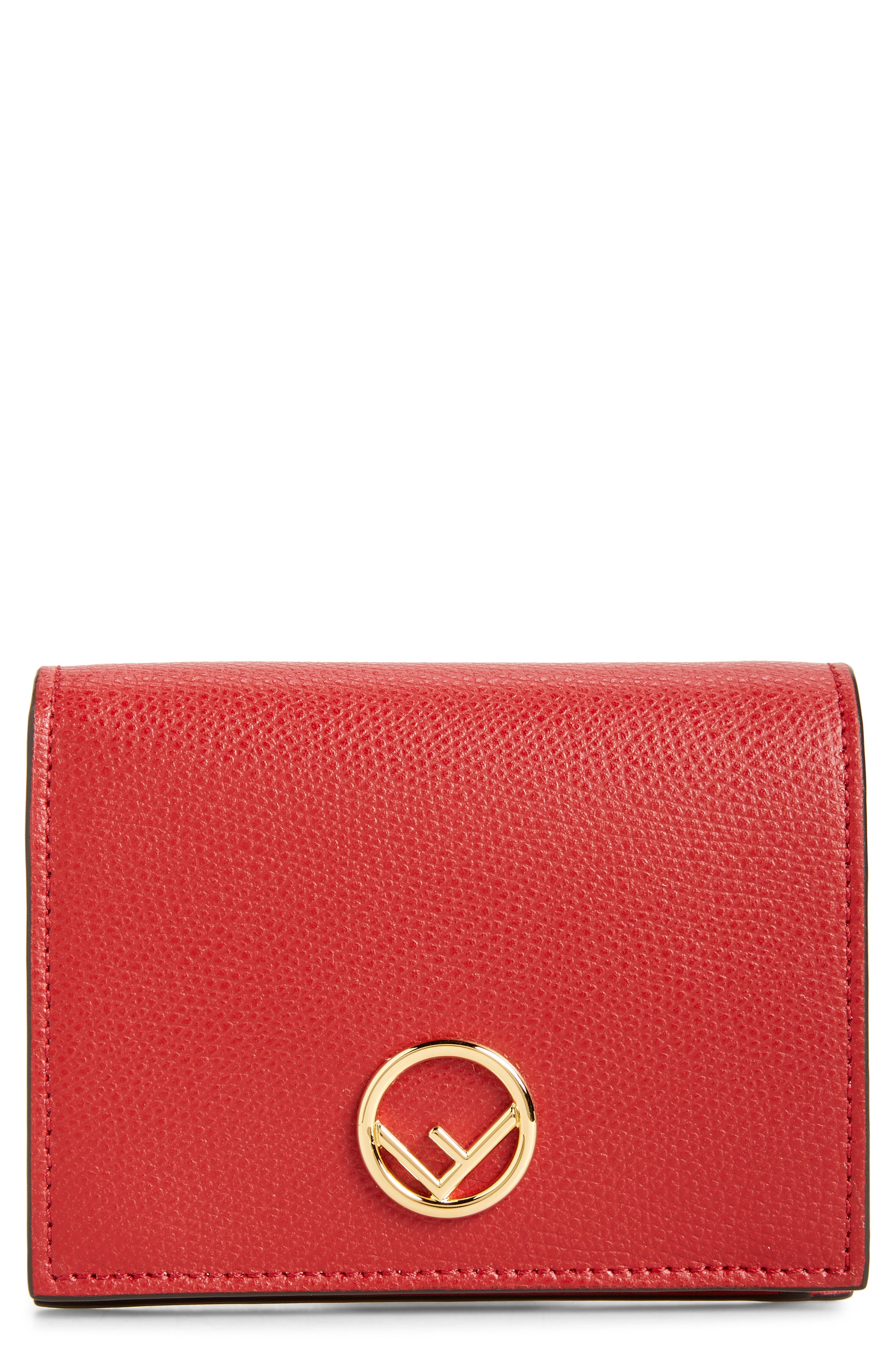 Logo Small Leather French Wallet,                         Main,                         color, FRAGOLA/ ORO SOFT