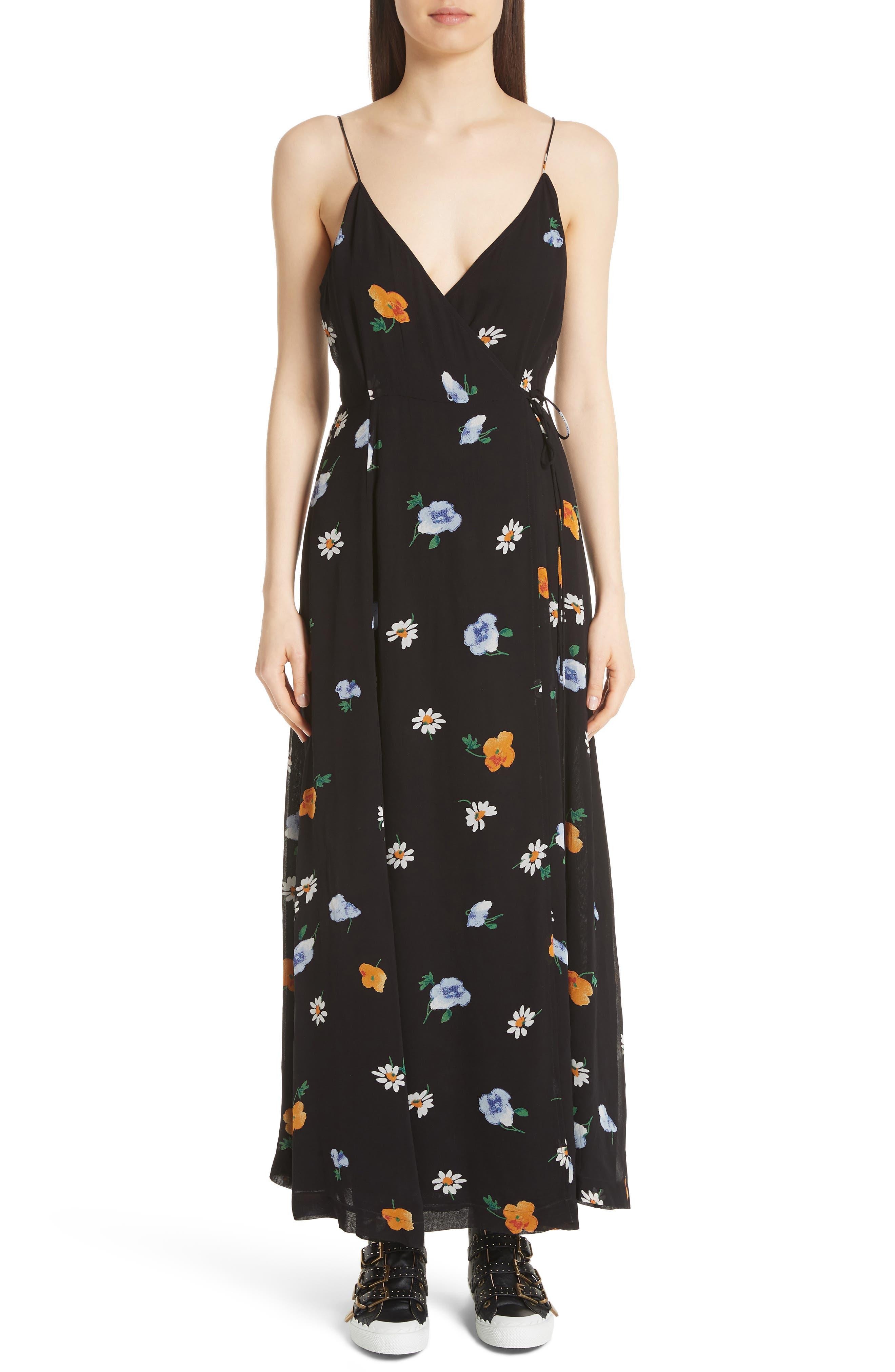 Dainty Georgette Strap Dress,                         Main,                         color, BLACK