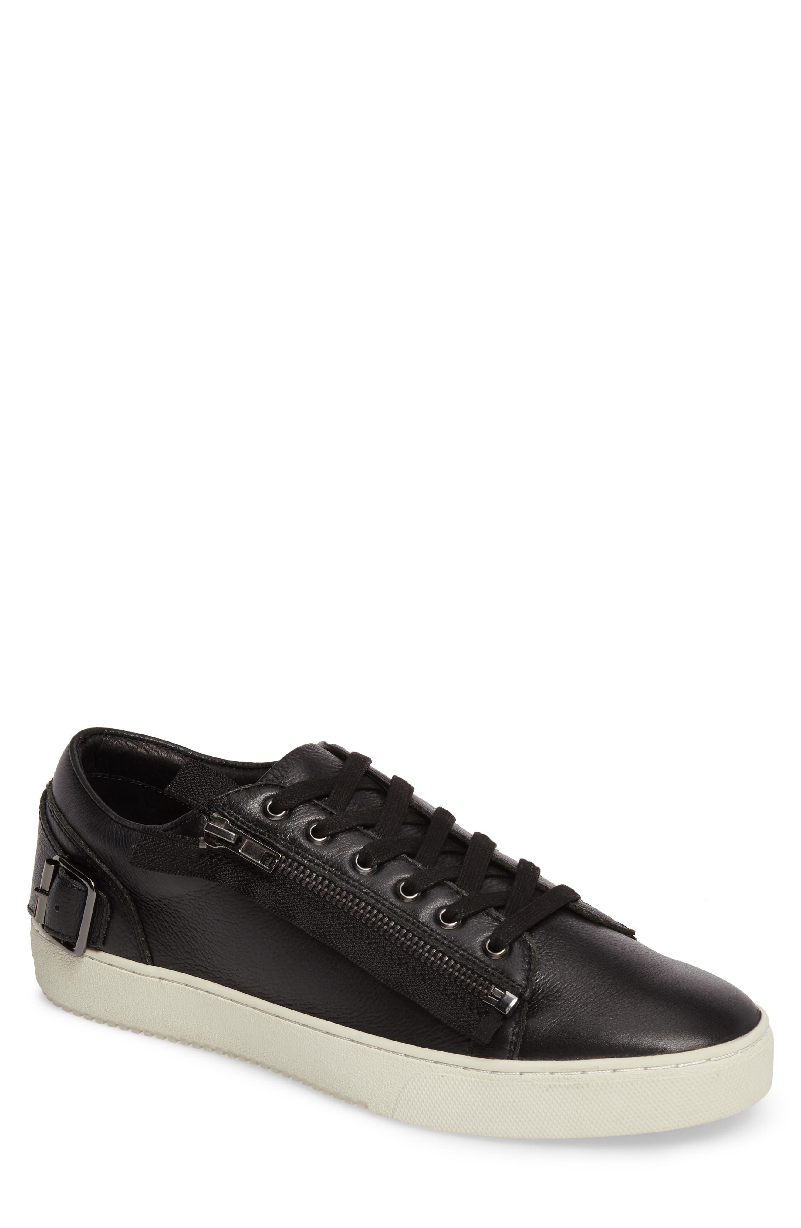 Wayne Sneaker,                         Main,                         color, BLACK LEATHER