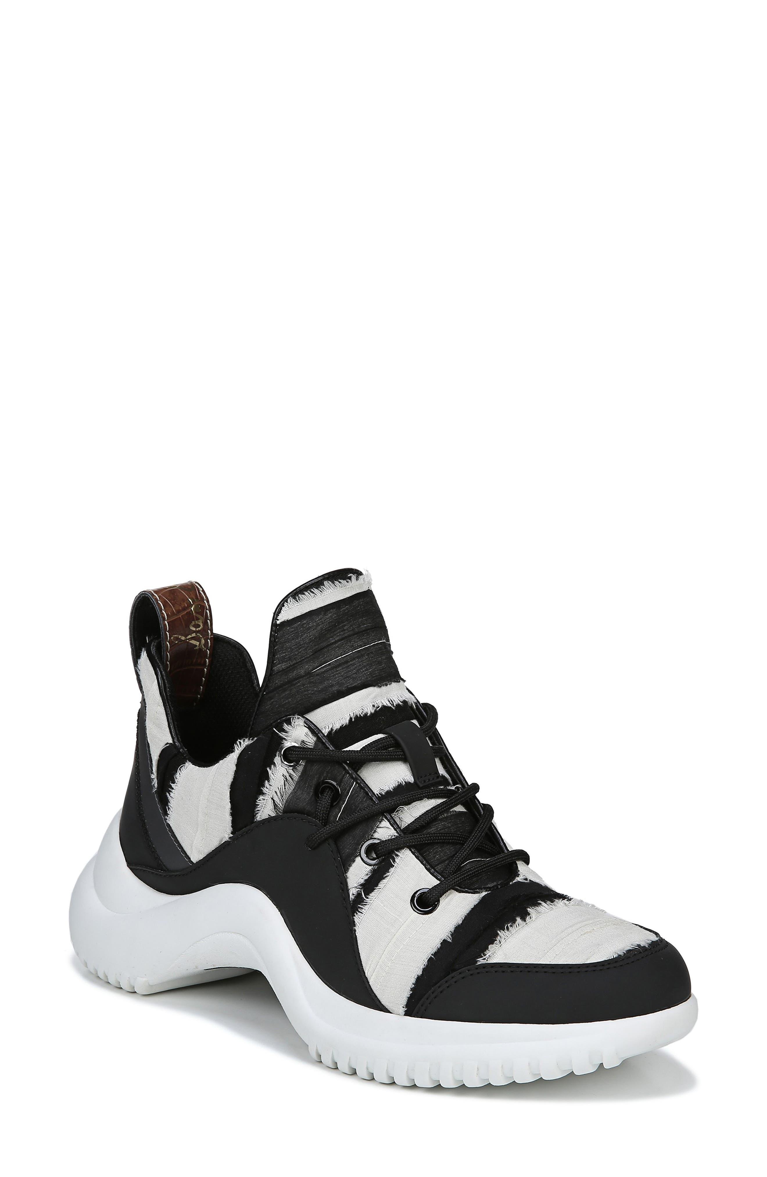 SAM EDELMAN Women'S Meena Low-Top Sneakers in Black/ Ivory Fabric