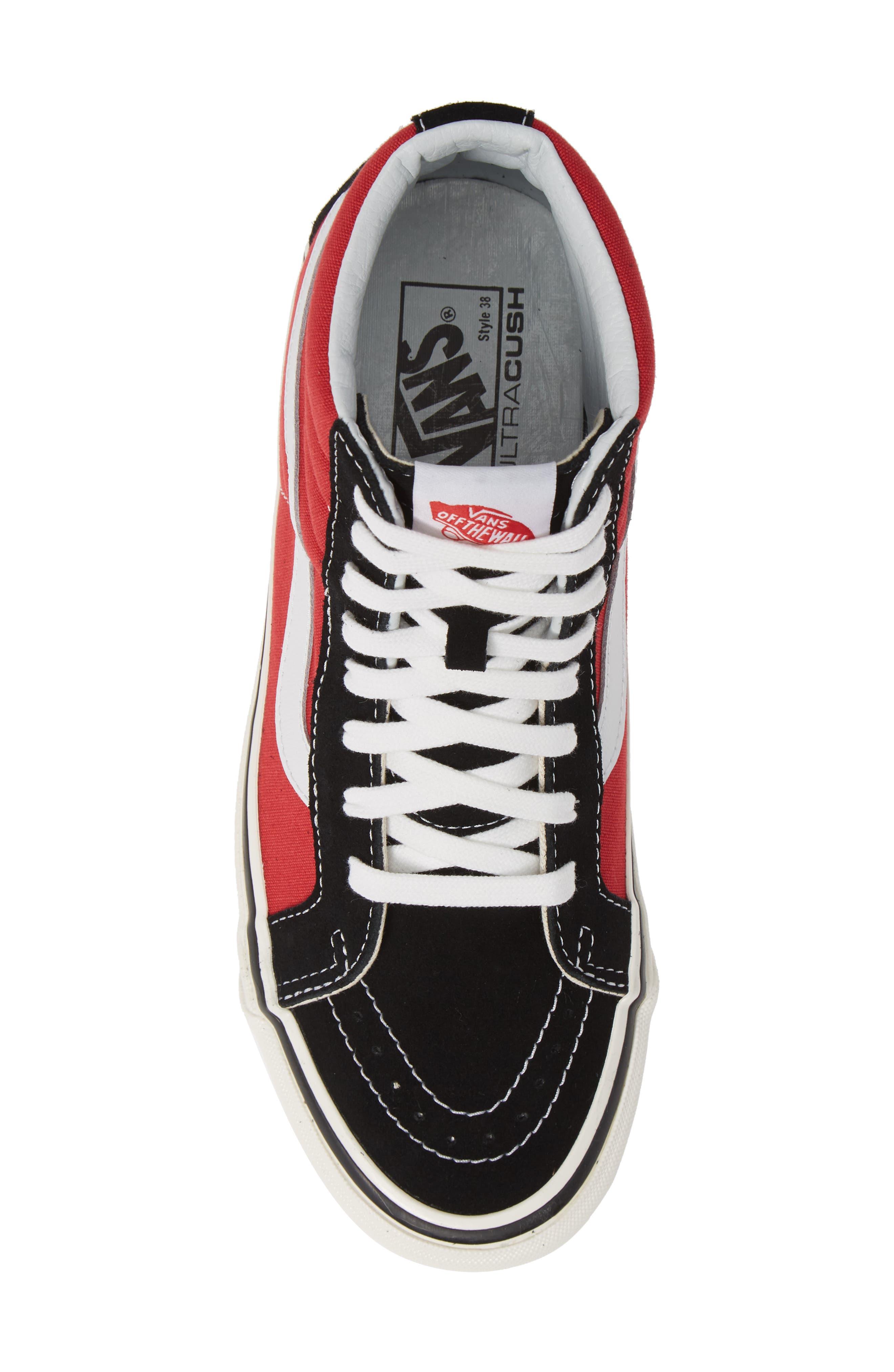 UA Sk8-Hi 38 DX Sneaker,                             Alternate thumbnail 5, color,                             OG BLACK/ OG RED CANVAS